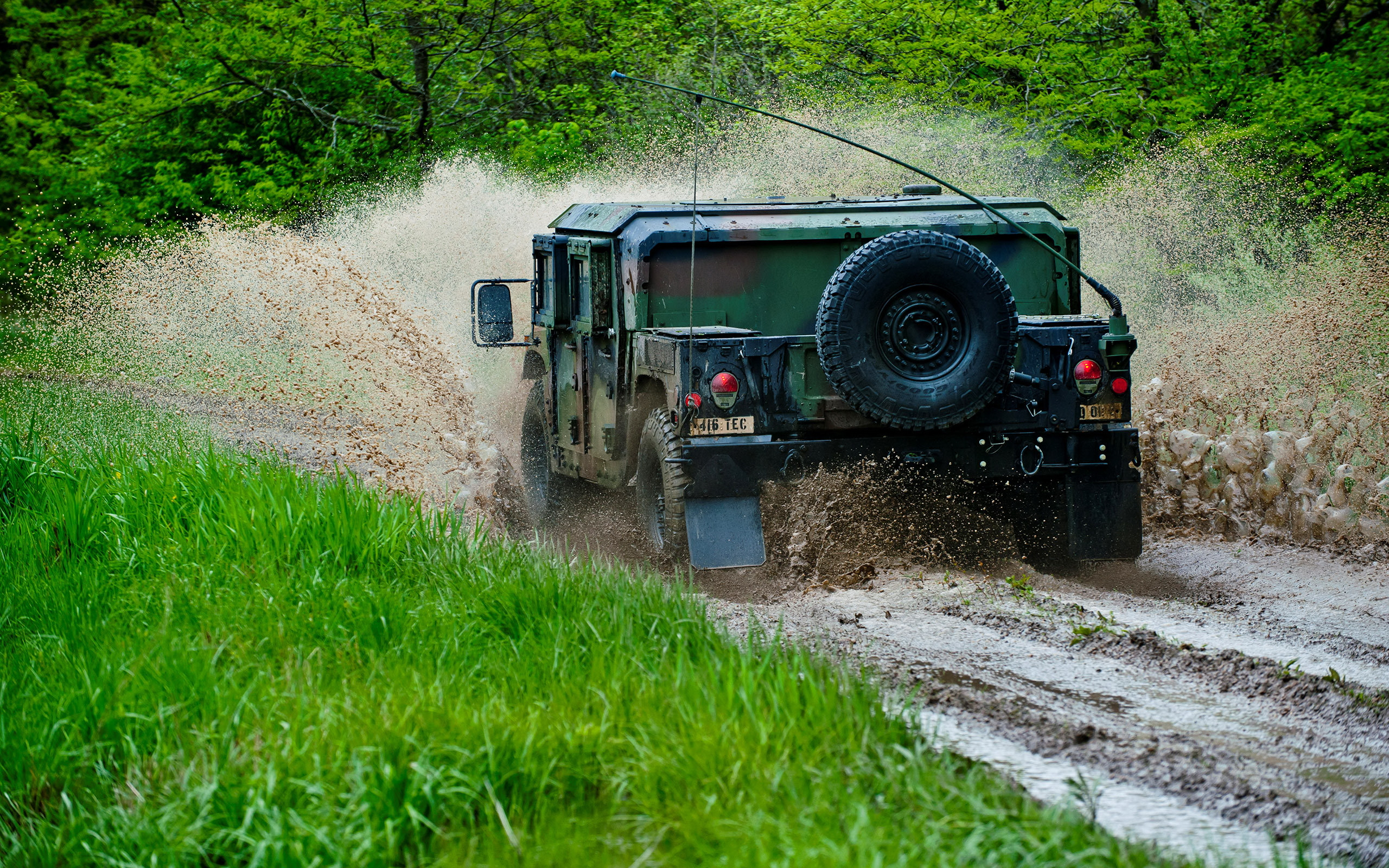 Military Hummer going off road