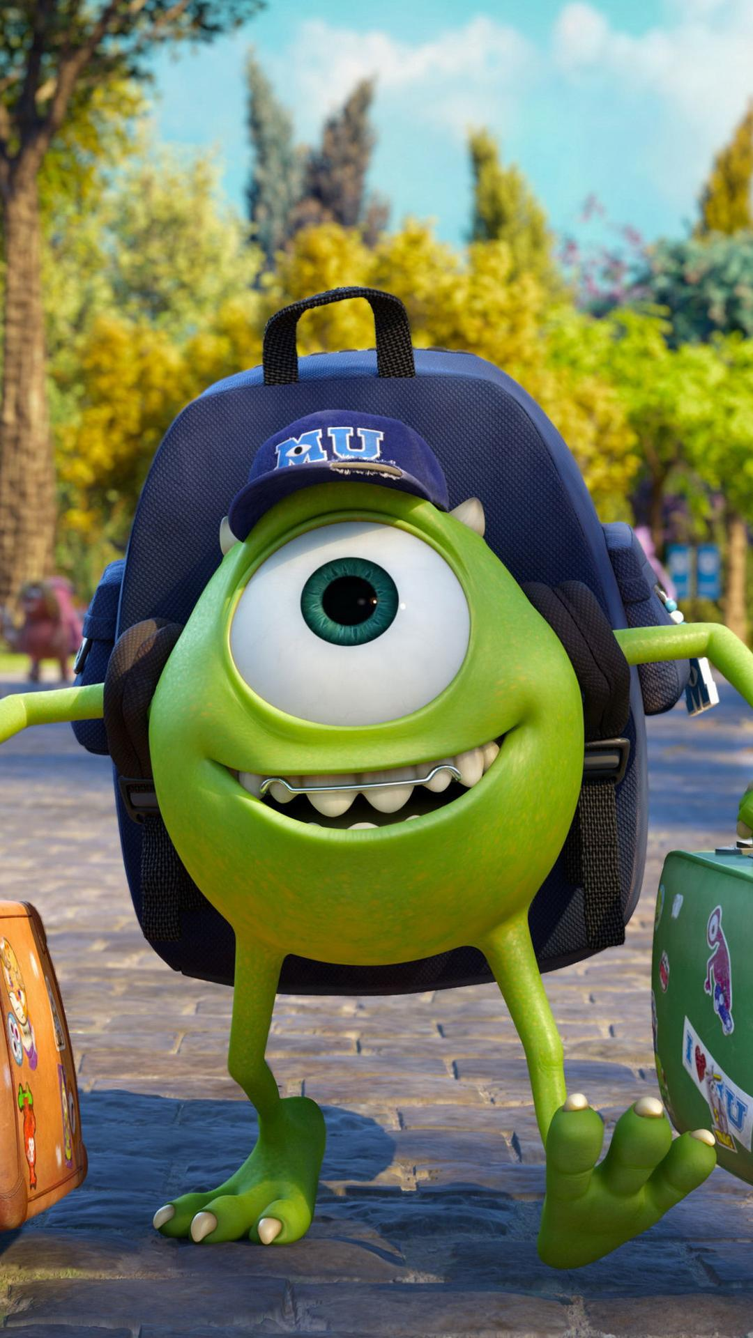 Monster university green monster with two suitcases wallpaper monster university green monster with two suitcases wallpaper download 1080x1920 voltagebd Images