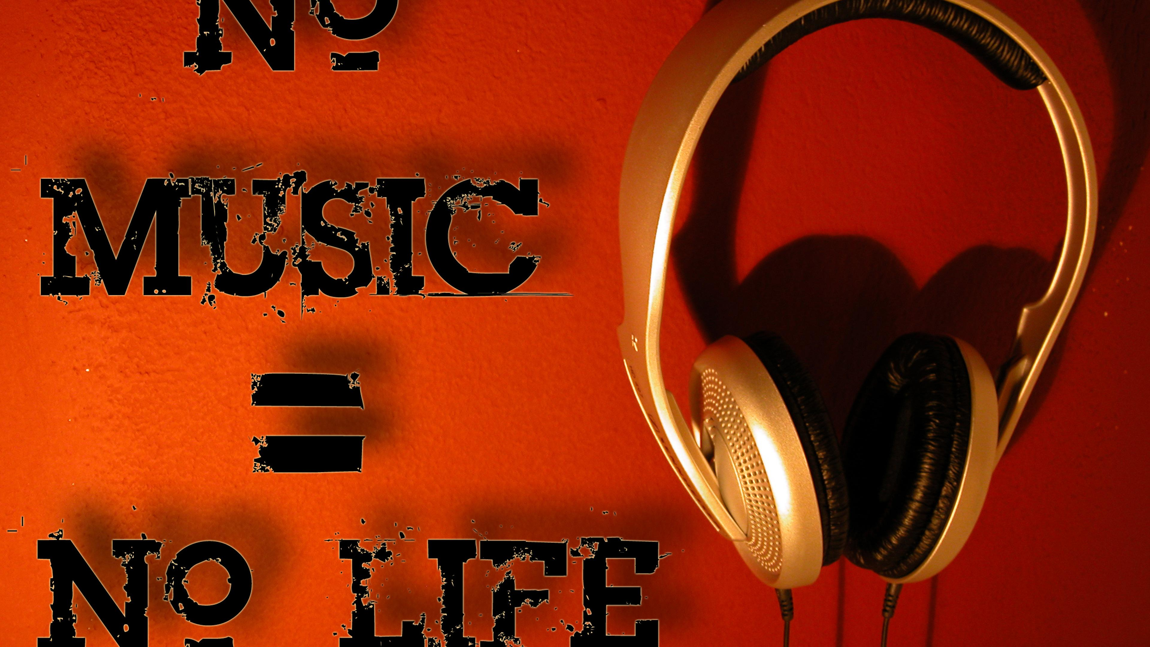 Great Wallpaper Music Mike - no-music-no-life-a-gold-headphones-3840x2160  Pictures_619744.jpg