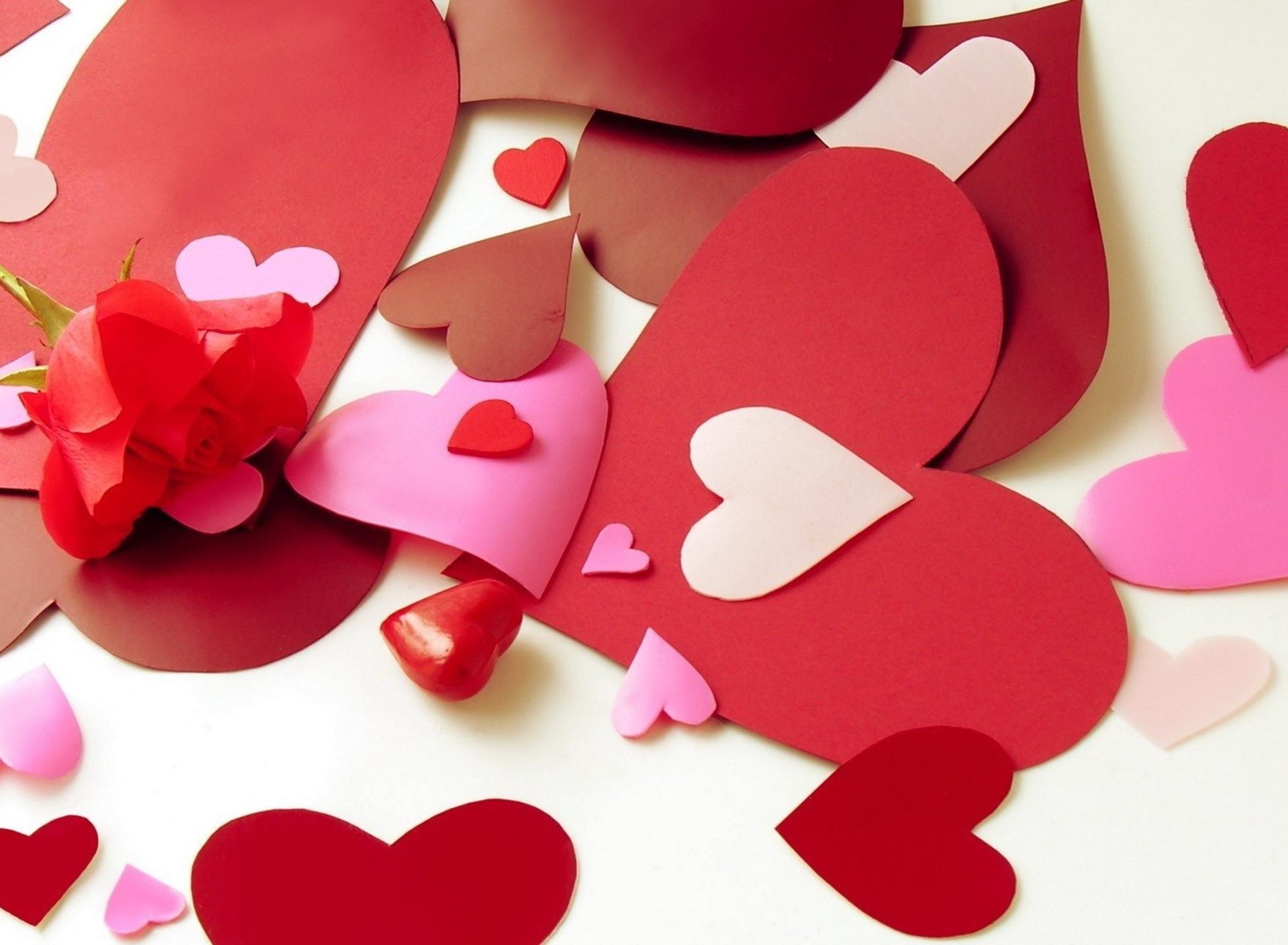 Открытка из сердечек из 5