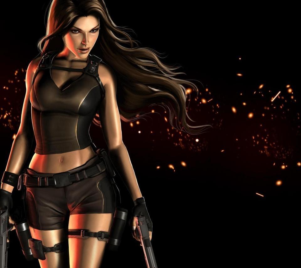 Tomb Raider Game Wallpaper: Poster With Lara Croft In Tomb Raider Game Wallpaper