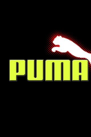 Puma logo in red, white and green Wallpaper Download 320x480
