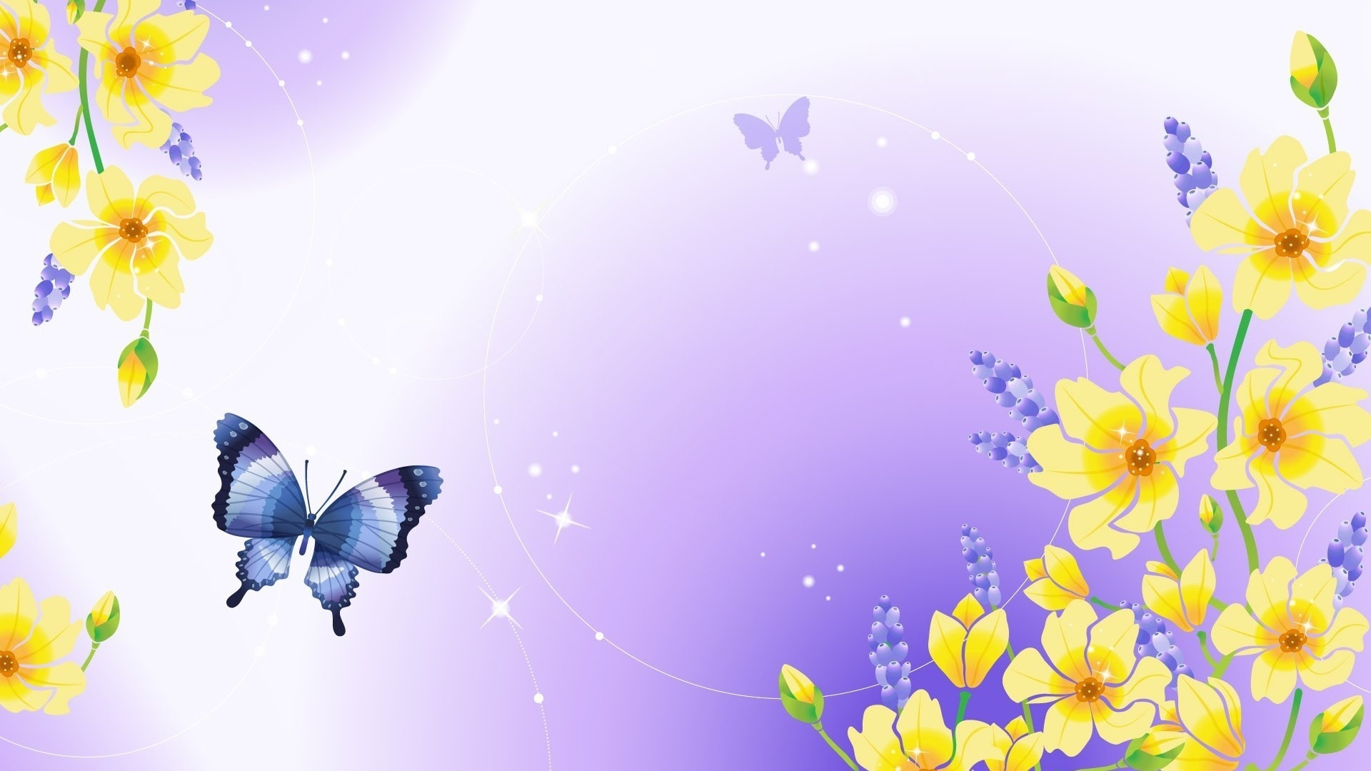 Purple Butterfly And Yellow Flowers In A Drawing
