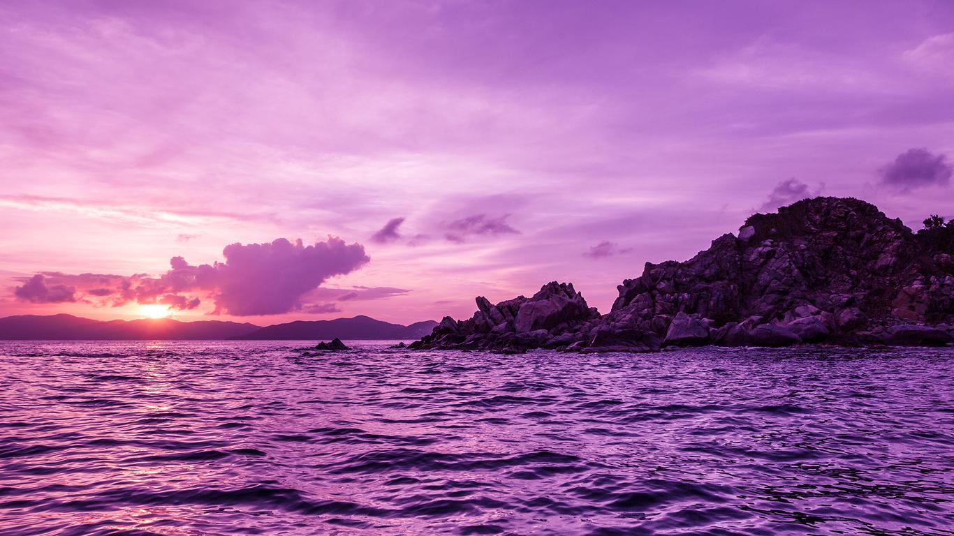Purple Landscape Sunset Over The Sea Wallpaper Download