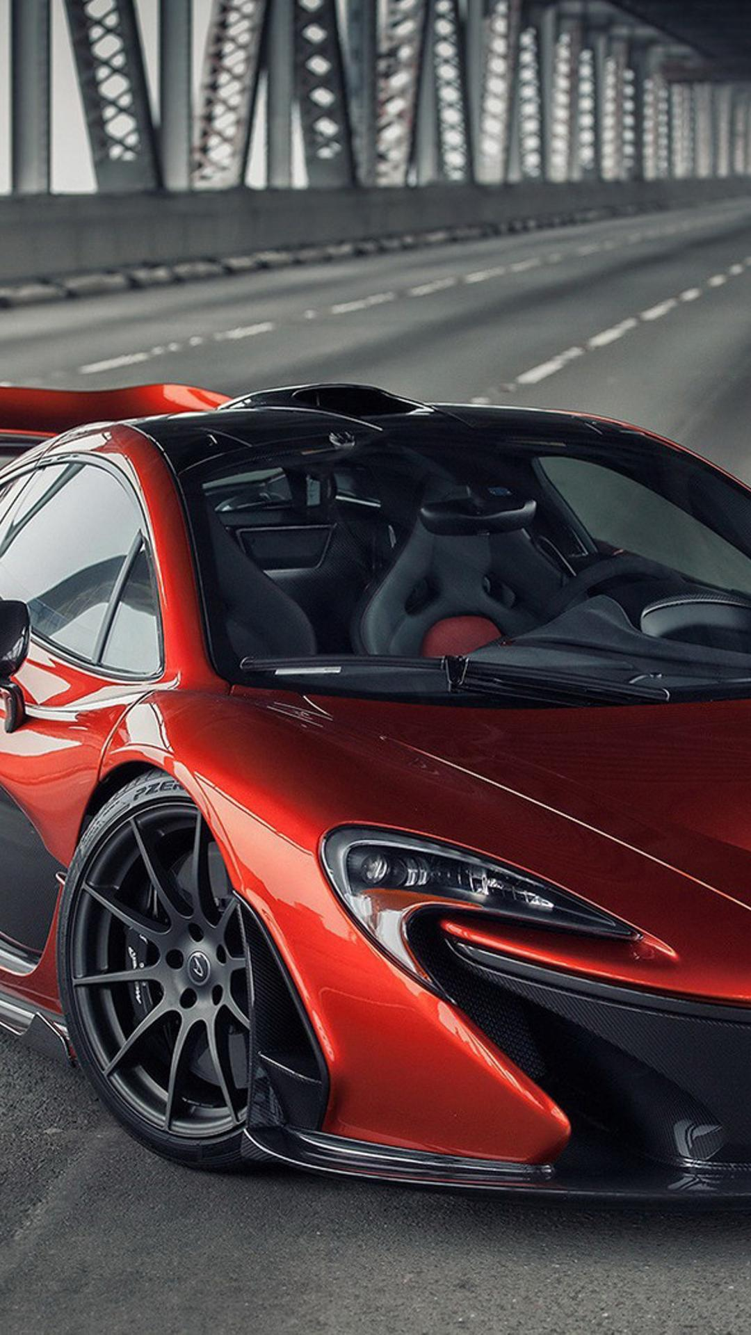 Download Wallpaper 1080x1920 Red McLaren P1 On A Bridge   Sport Car