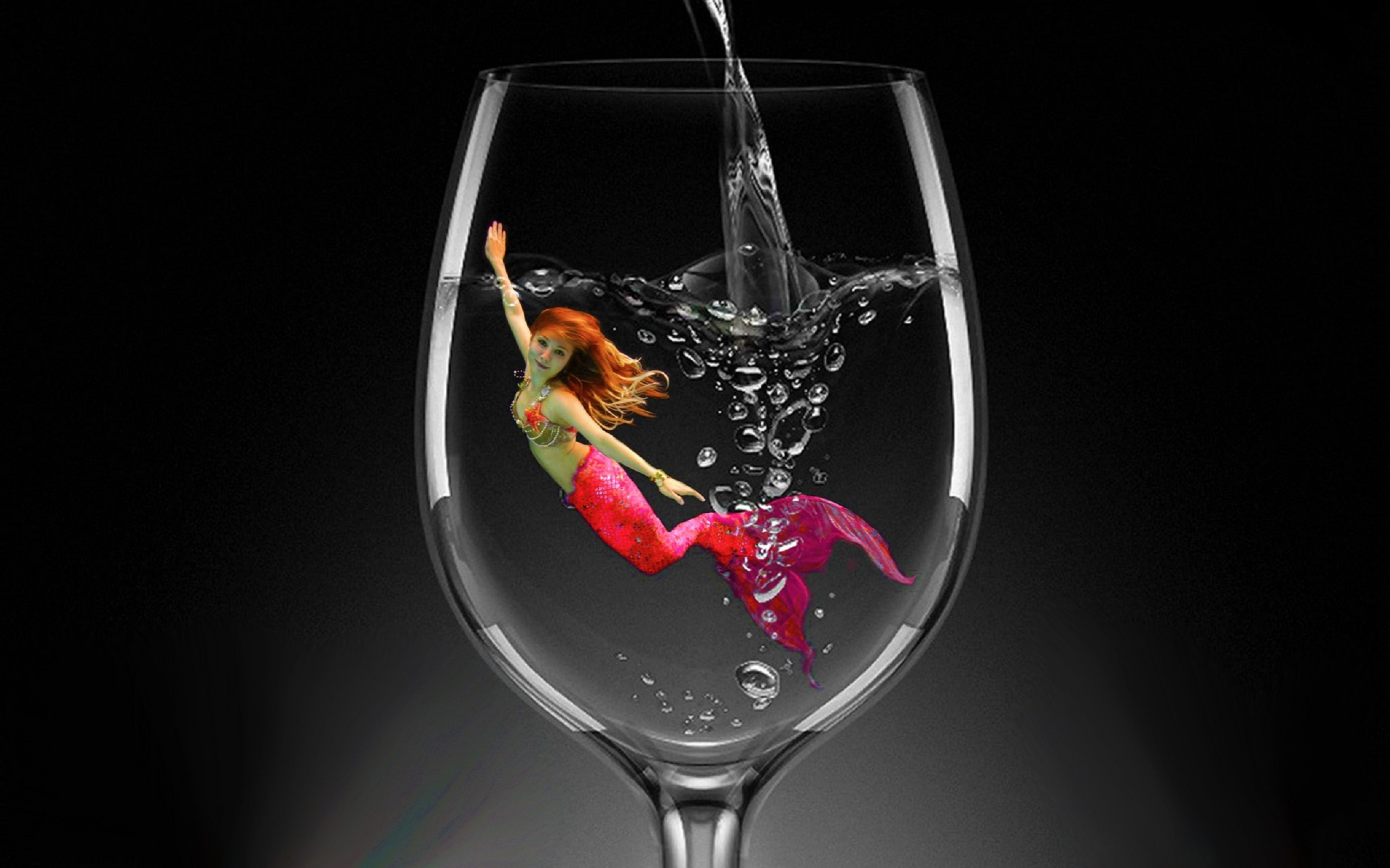 Red Mermaid In A Glass Of Water Hd Wallpaper