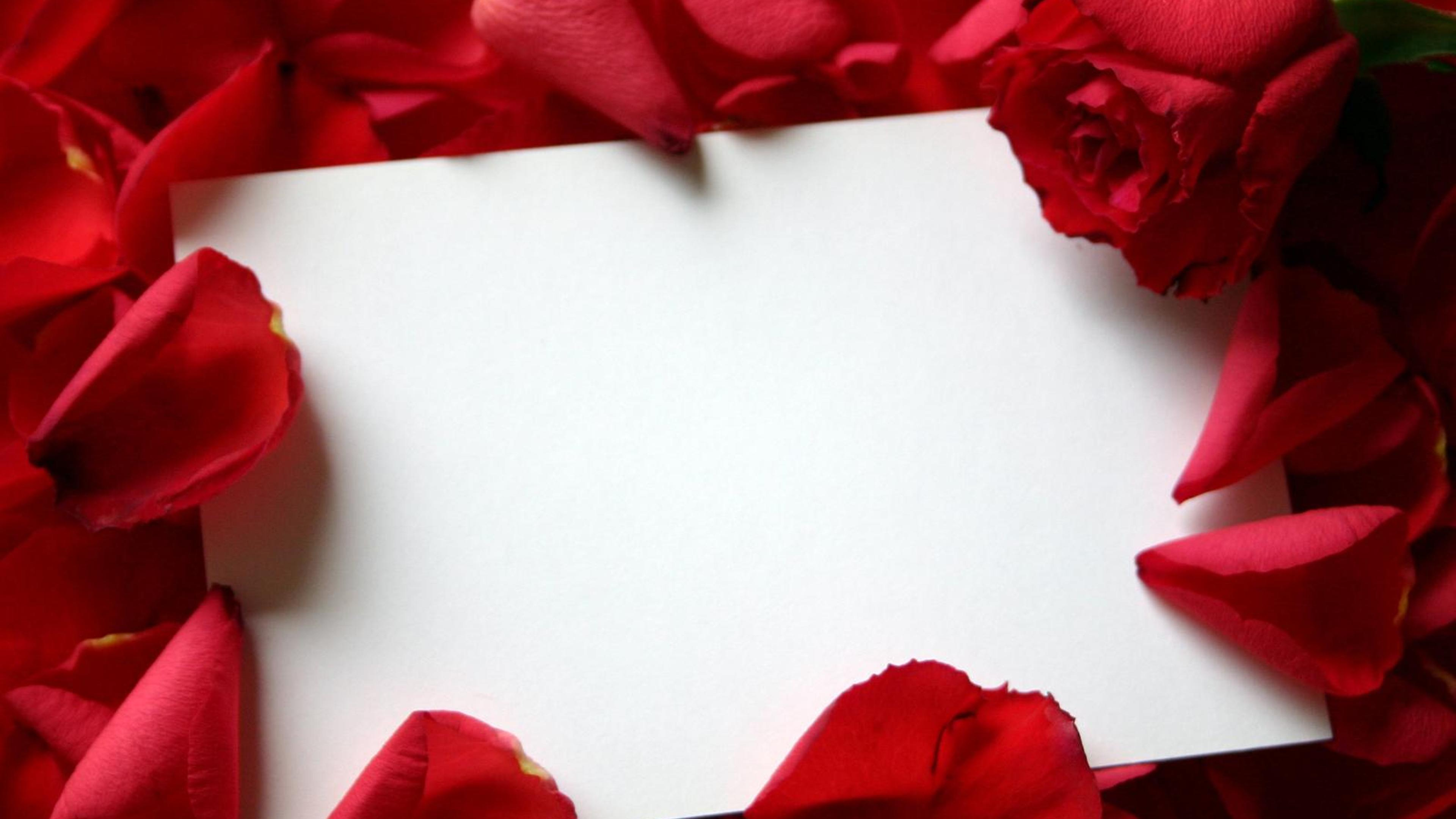 Download Wallpaper 3840x2160 Red Roses With Love Letter
