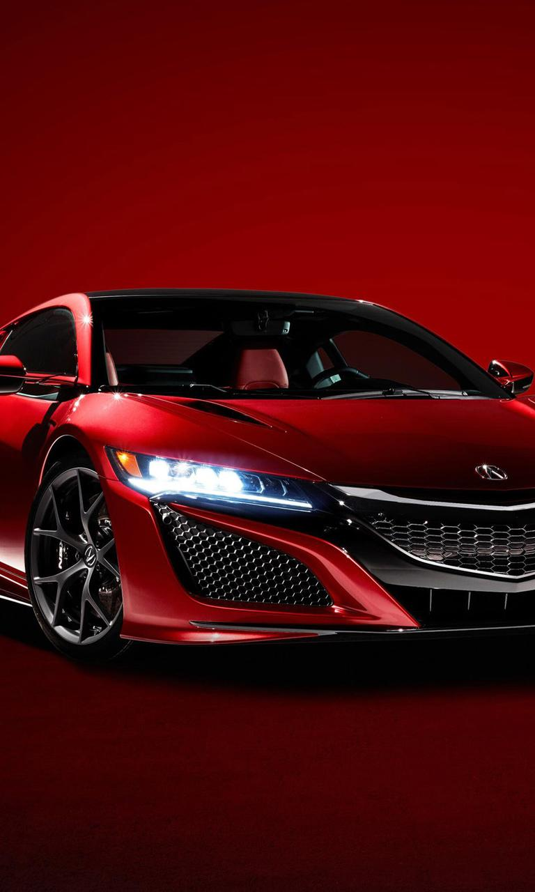 Red Supercar Acura NSX 2016 Wallpaper Download 768x1280