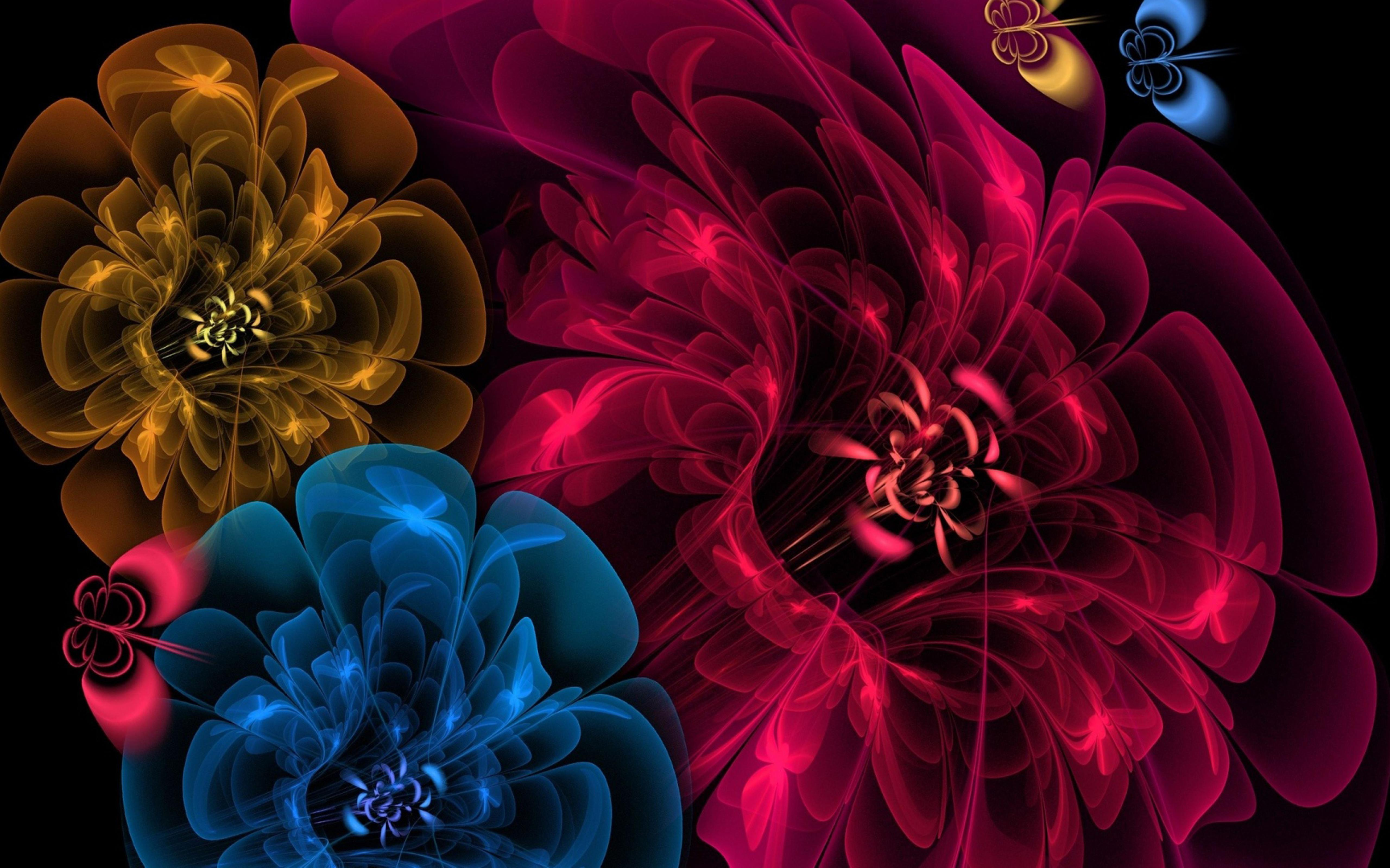 Red, yellow and blue flowers and butterflies Wallpaper ...