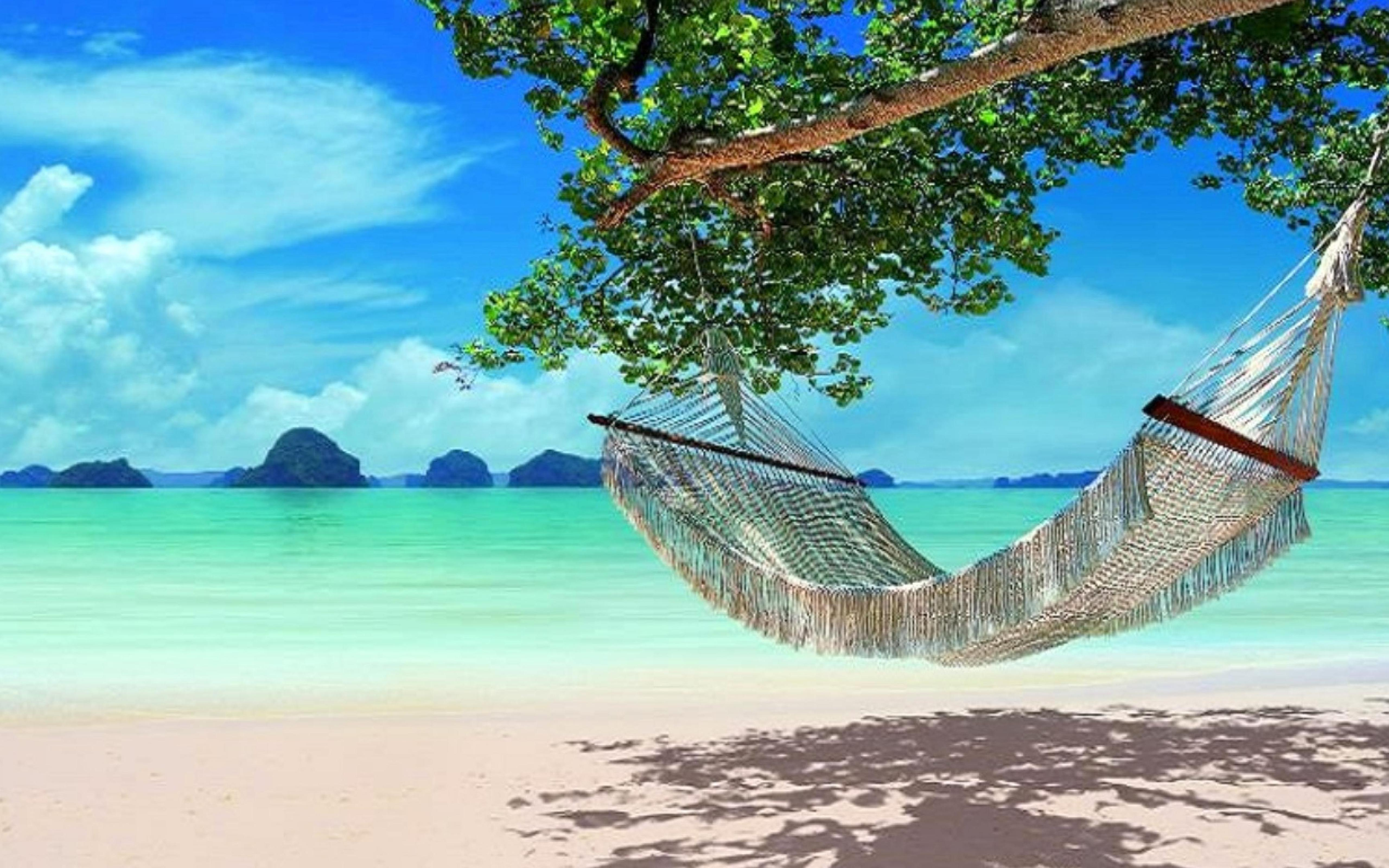 Beach Ford Service >> Relaxing hammock on the beautiful blue water Wallpaper Download 5120x3200