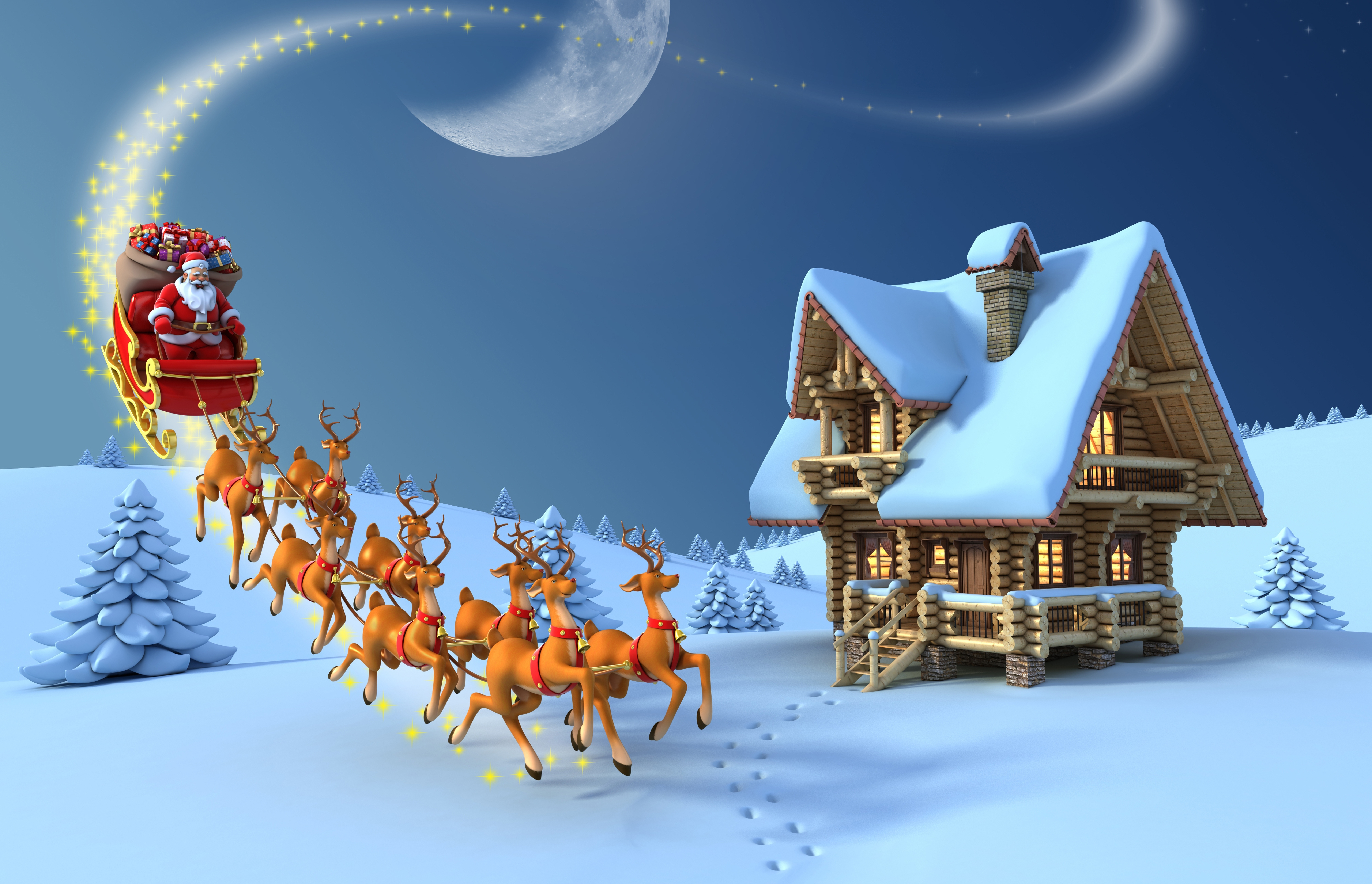 santa claus and his reindeers at north pole
