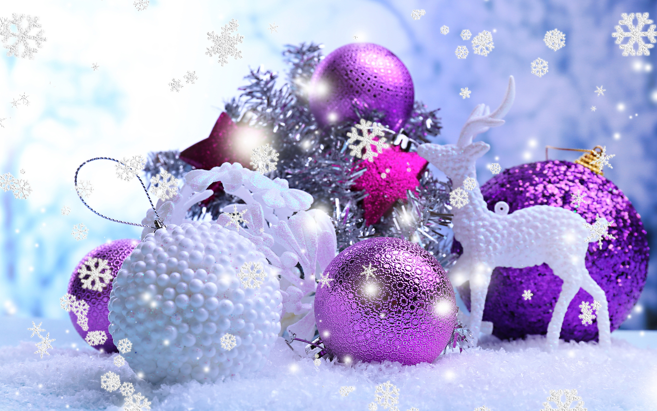 shiny purple and white christmas balls