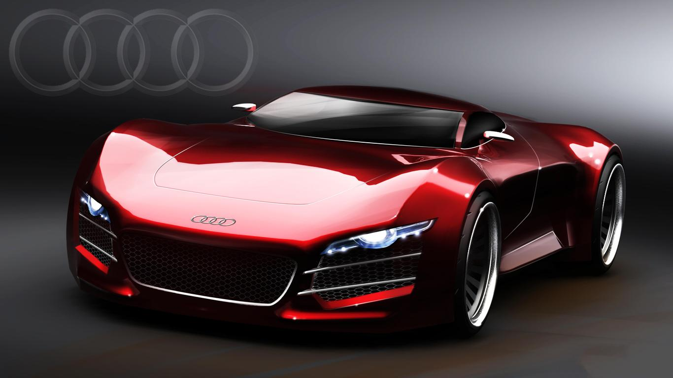 sport audi r10 - red car wallpaper wallpaper download 1366x768