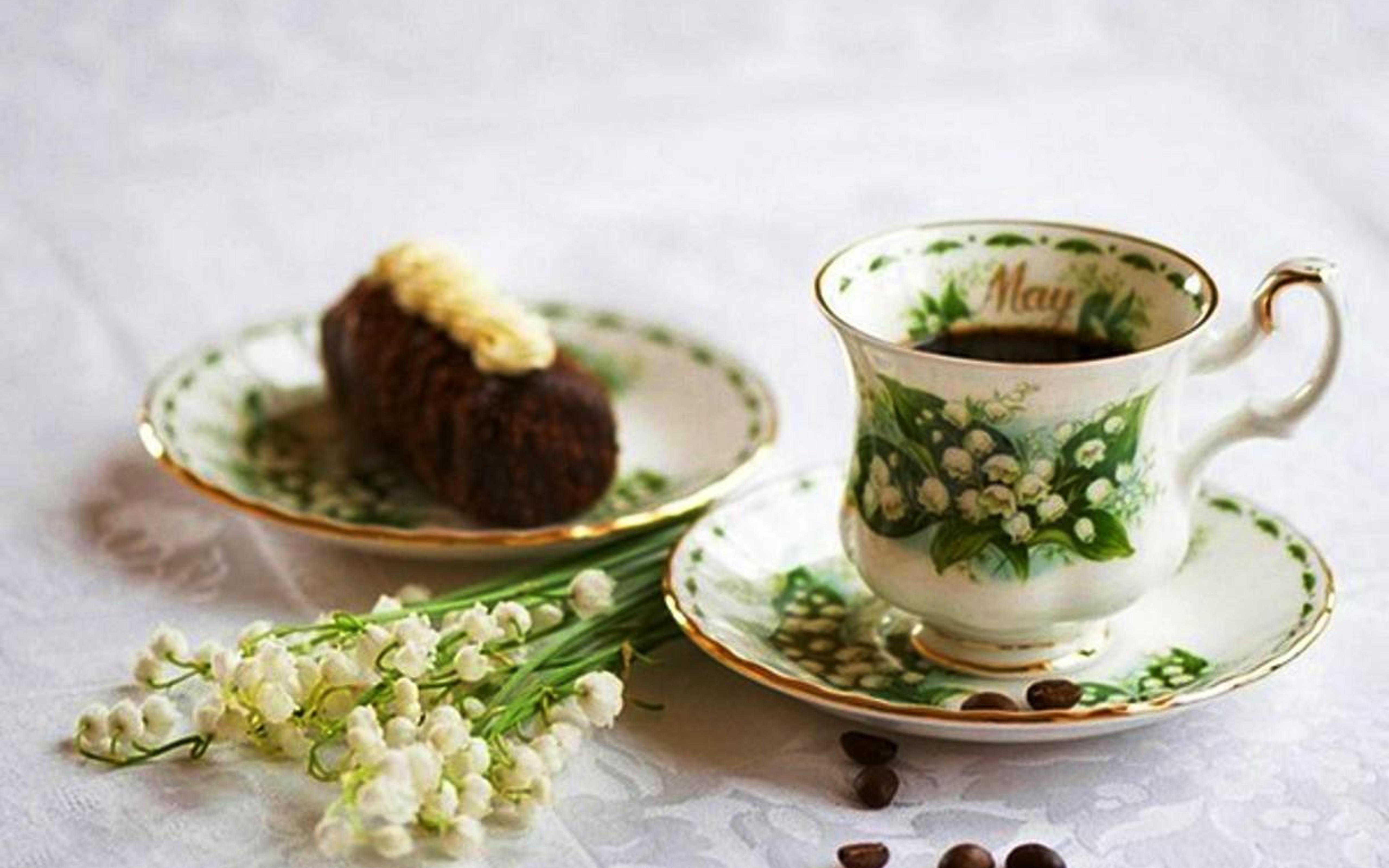 Фото картинки чай кофе цветы