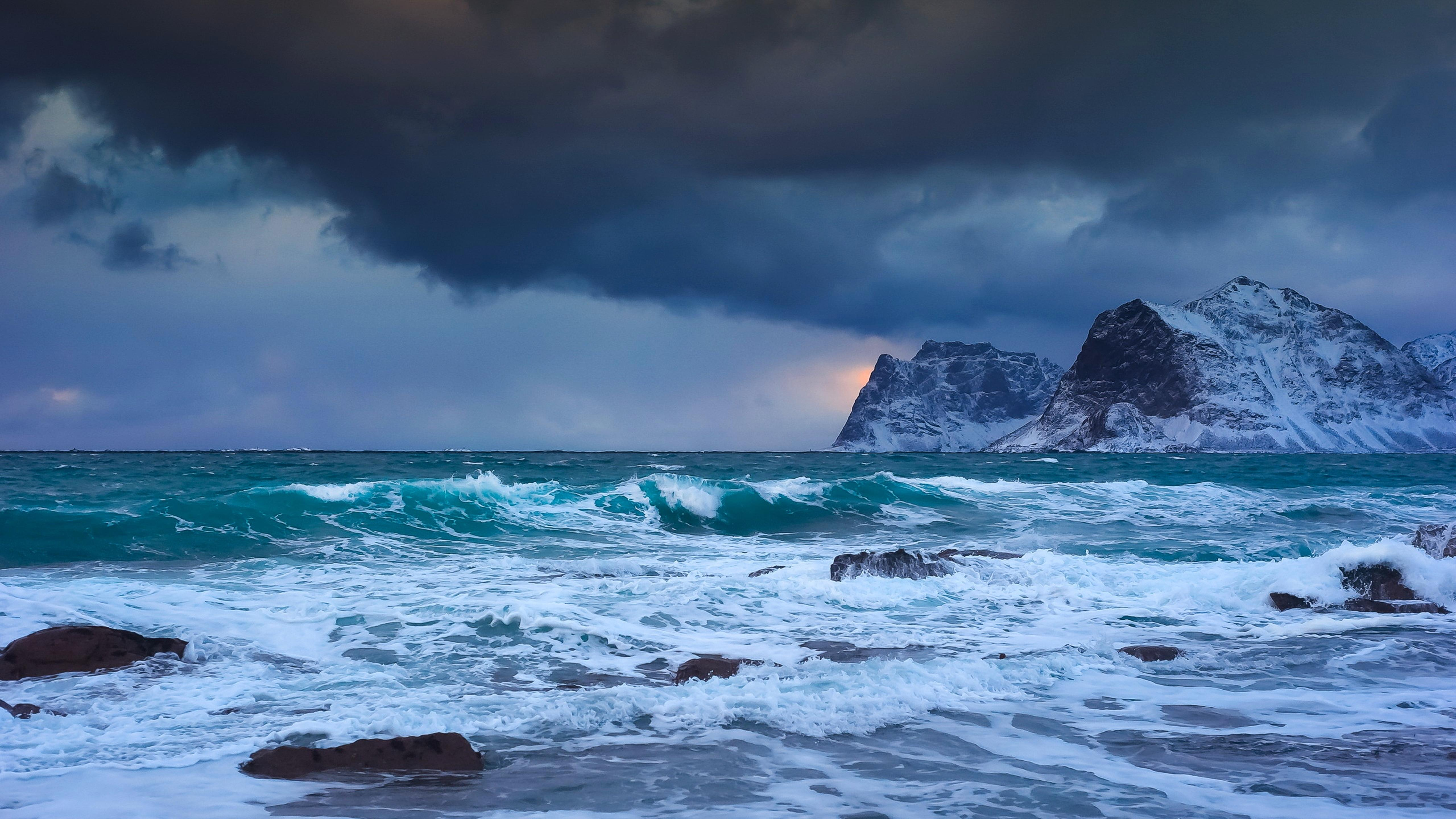 BMW Mountain View Service >> Storm at sea in a cold winter day Wallpaper Download 5120x2880