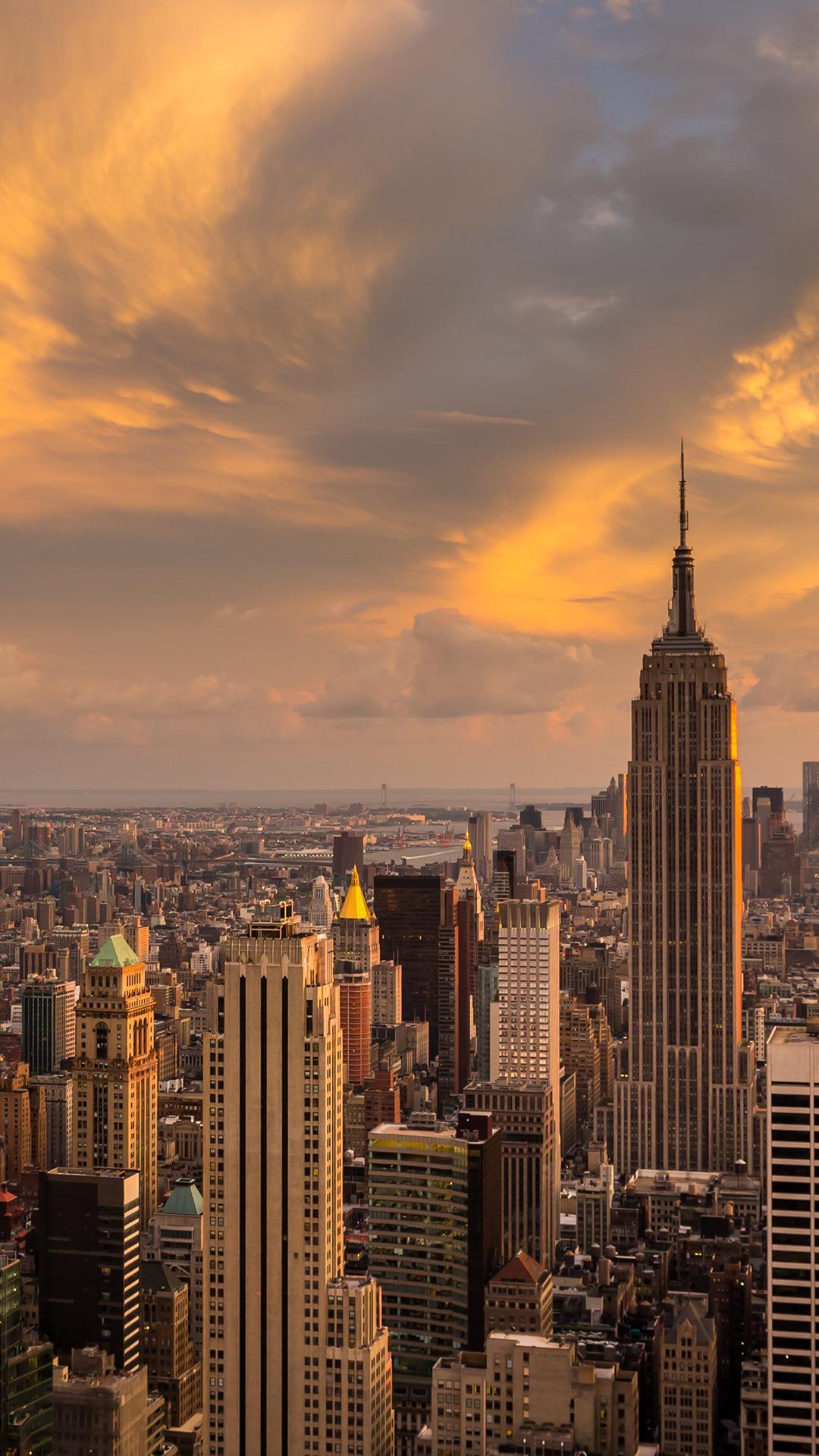 Sunset Over The Manhattan New York Wallpaper Download