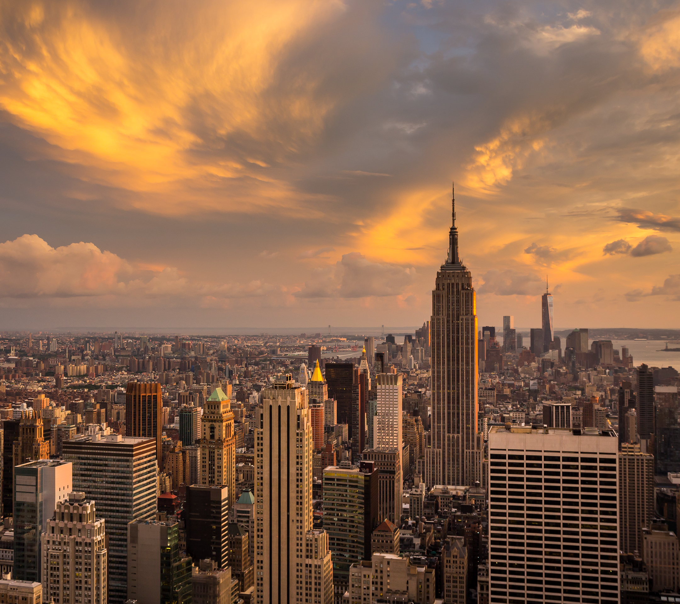 Sunset Over The Manhattan, New York Wallpaper Download