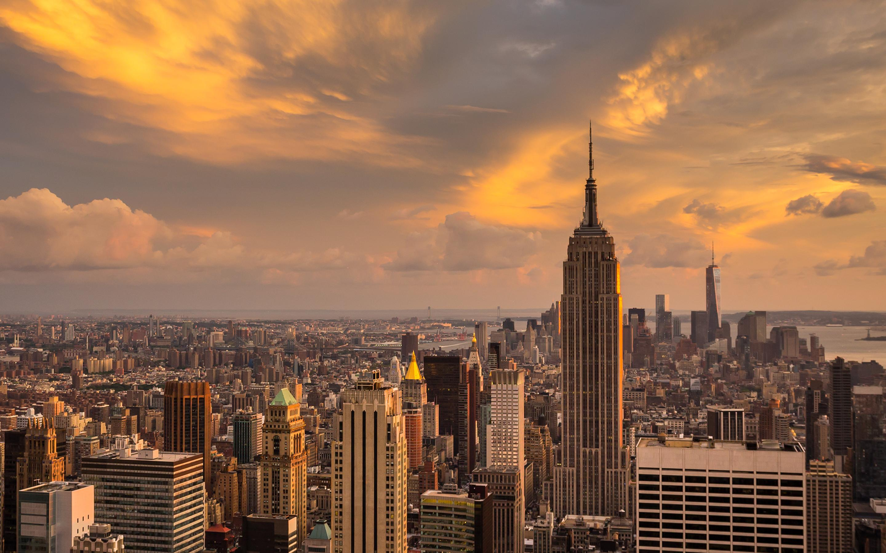 Download Wallpaper 2880x1800 Sunset Over The Manhattan New York