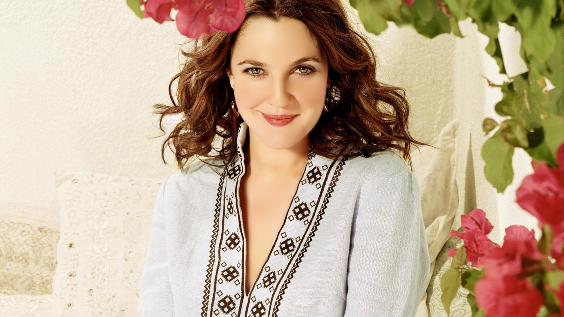 The Beautiful Drew Barrymore Between The Red Flowers