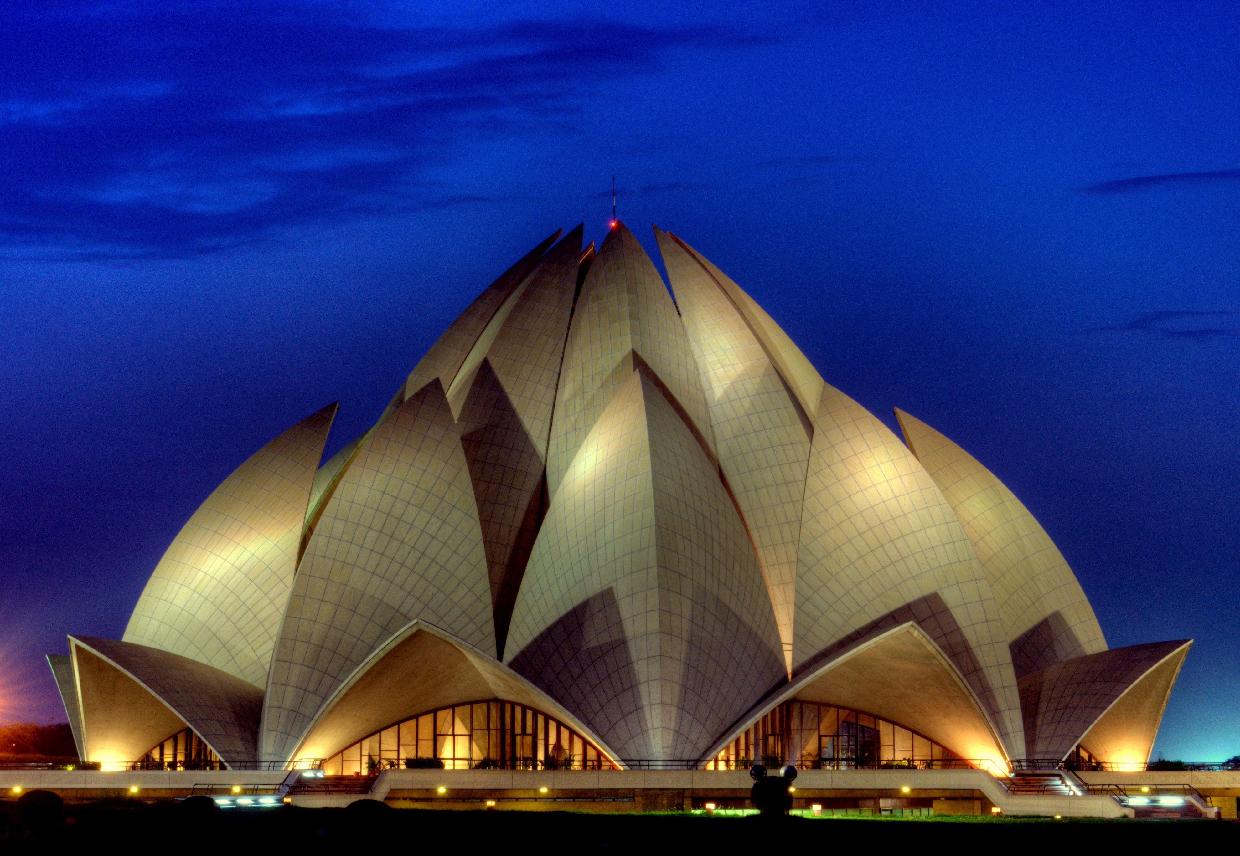 The Beautiful Lotus Temple Lit In The Night