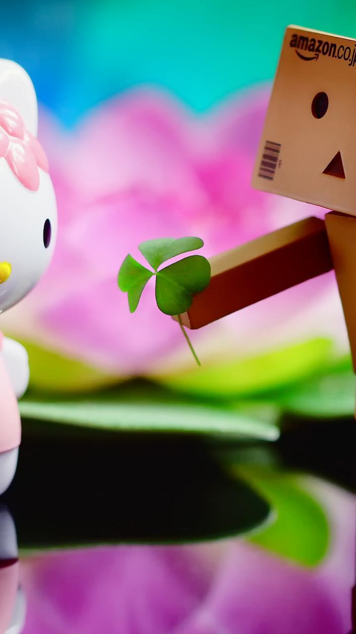 Download Wallpaper 720x1280 The Love Between Hello Kitty And Amazon Box