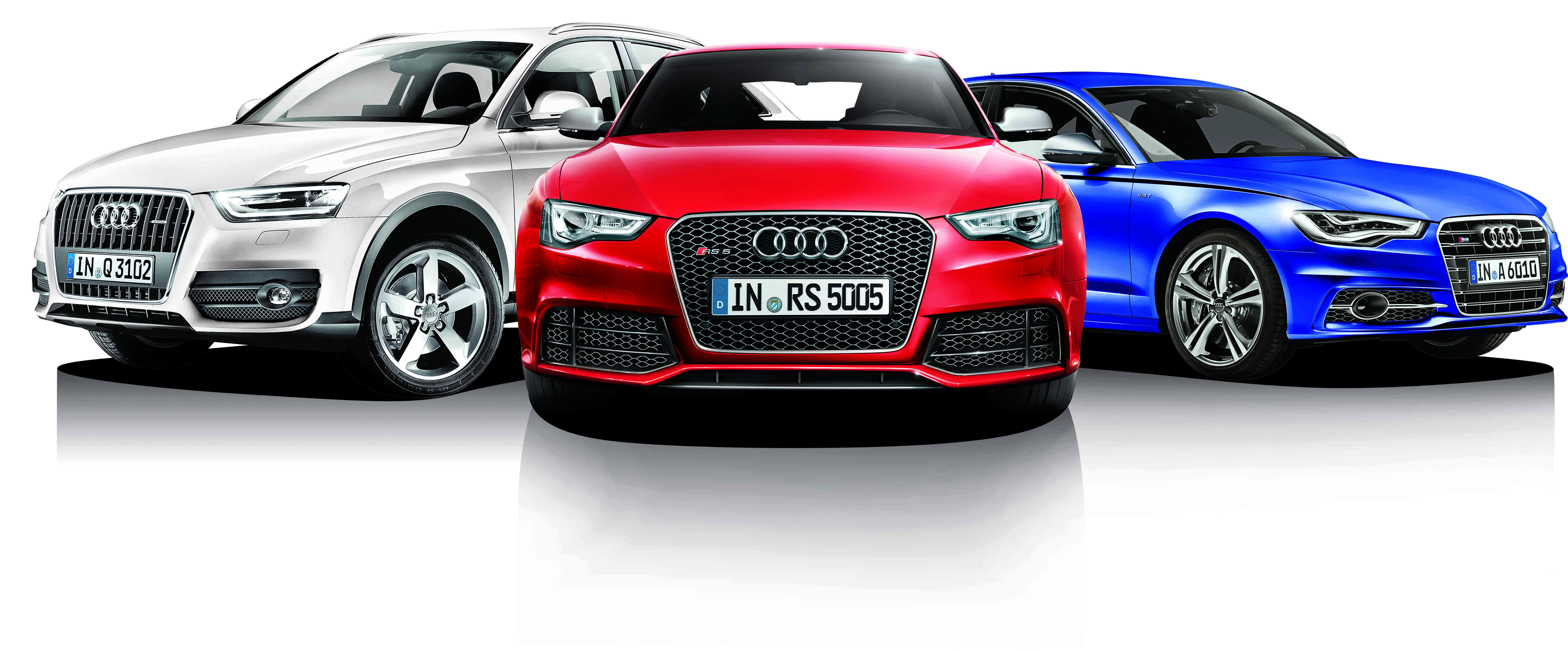 Three Audi Car In Different Colors - Audi car colors