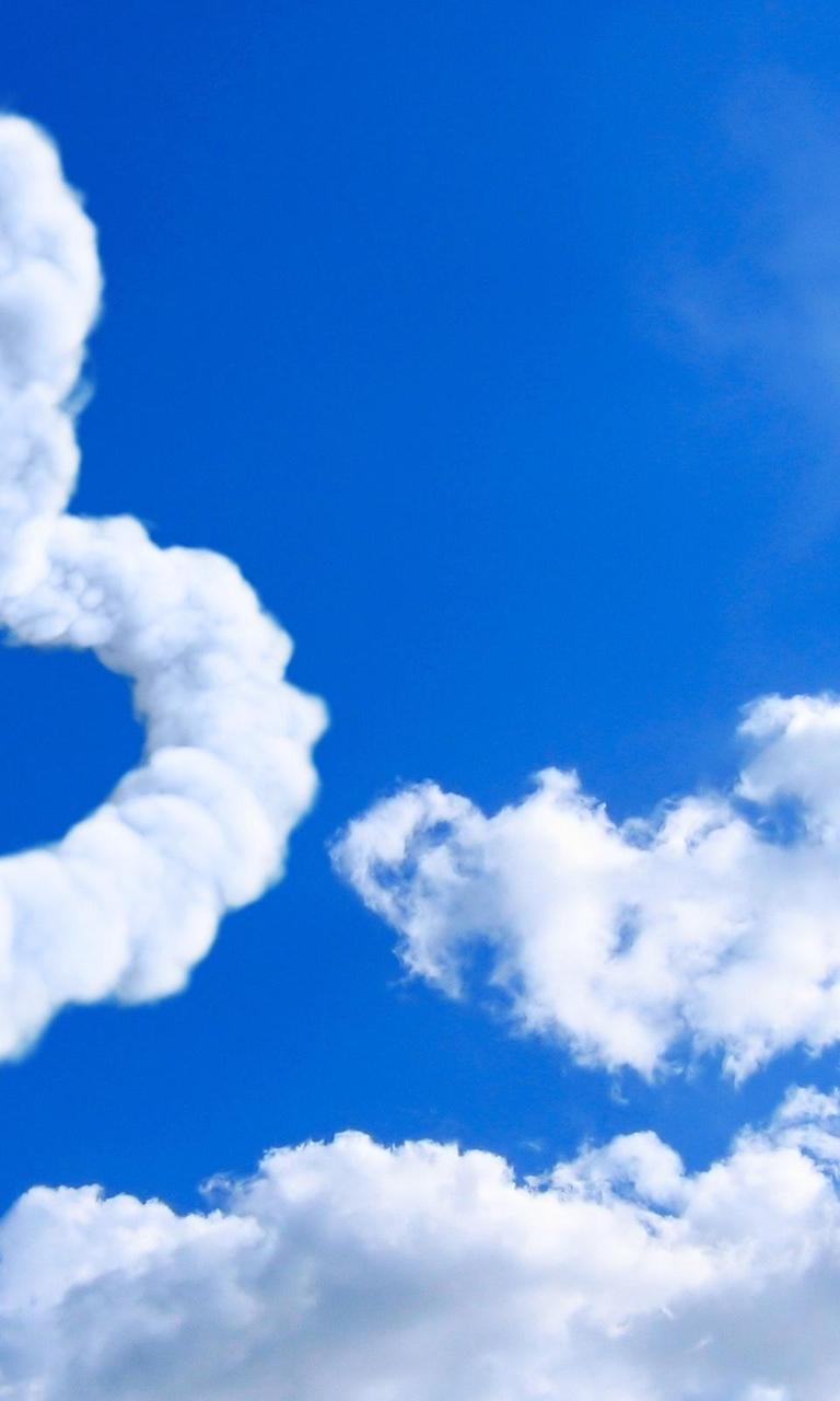true love on the sky - two hearts made from clouds wallpaper