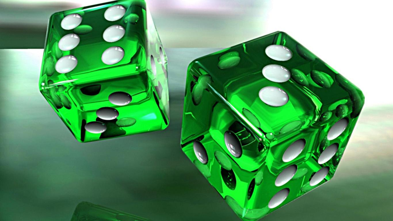 two green dice in air - 3d wallpaper wallpaper download 1366x768