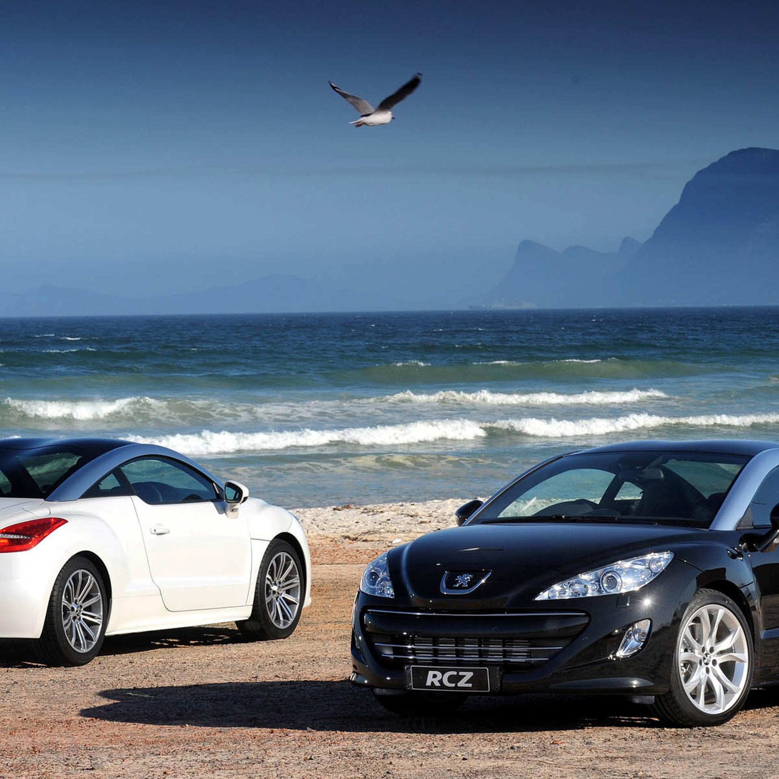 Two Peugeot RCZ On The Beach Wallpaper Download 2524x2524