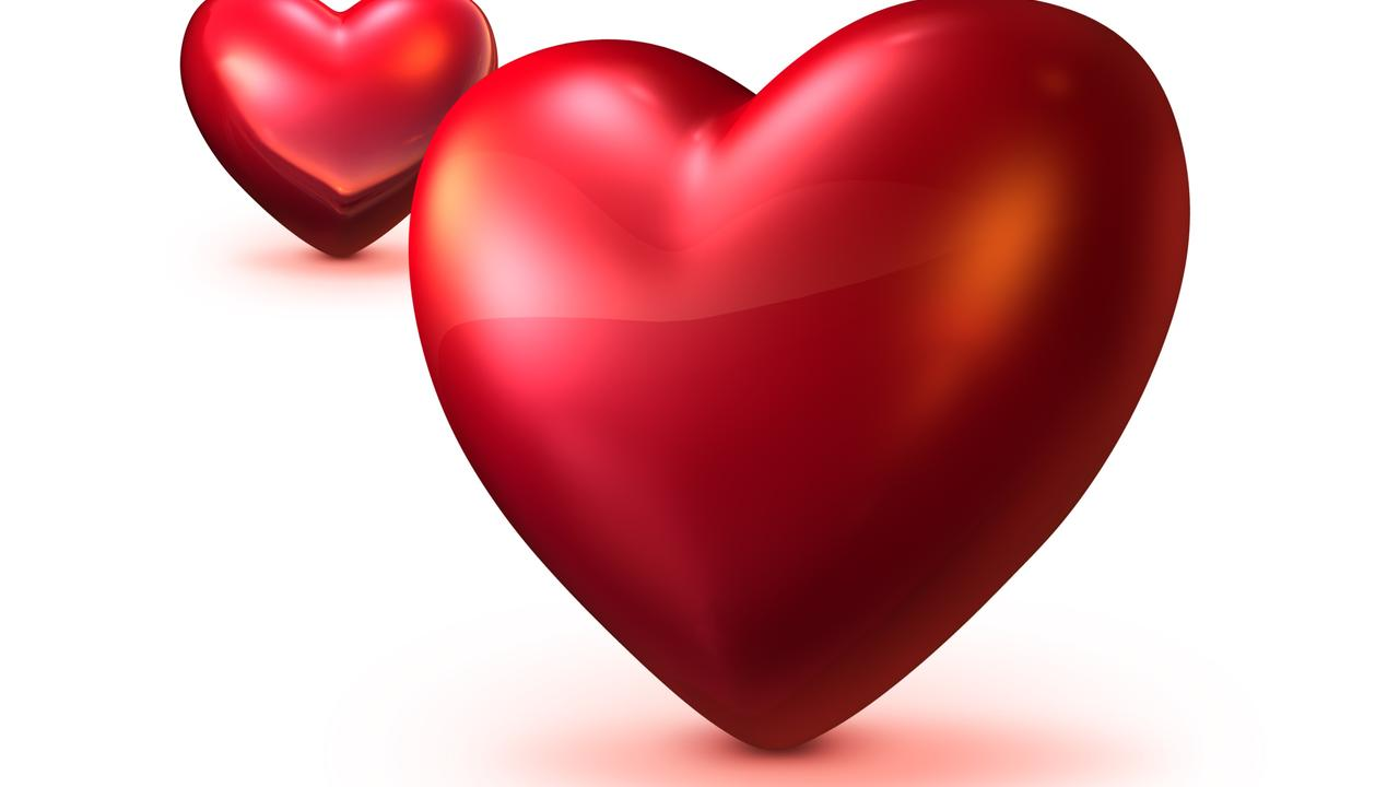 Two Red Hearts 3d Hd Love Wallpaper Wallpaper Download 1280x720