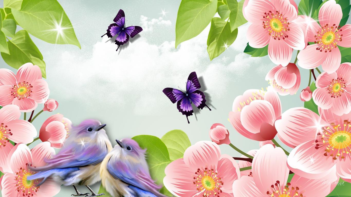 Download Wallpaper 1366x768 Two Sweet Birds And Butterflies Between Pink Flowers