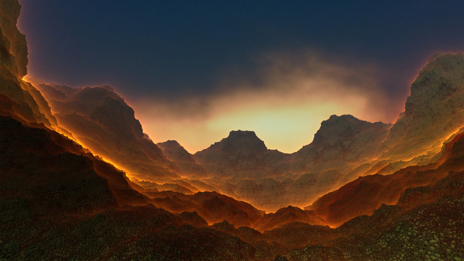 Valley Burn Between Mountains Hd Wallpaper