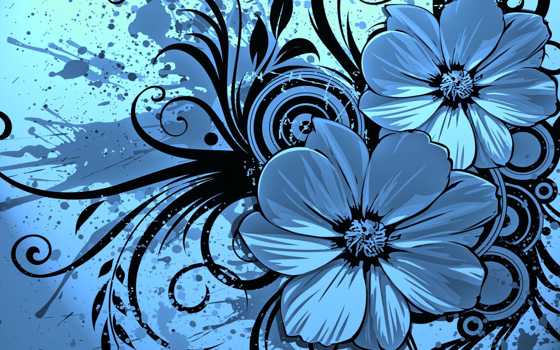 Vector Wallpaper Blue Flowers