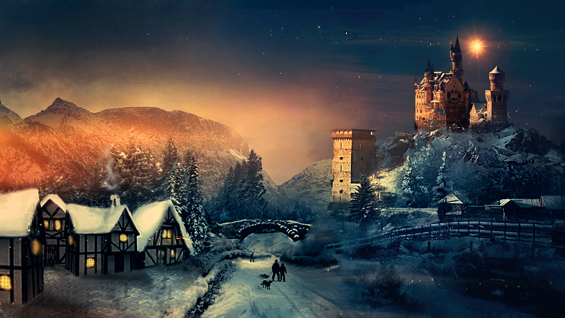 Walk In The City In The Winter Night