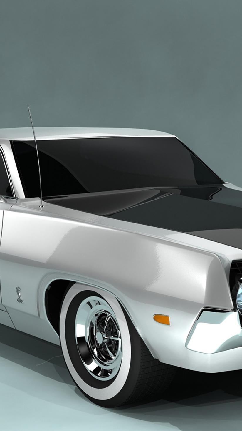 White And Black Ford Torino Cobra Wallpaper Download 824x1464