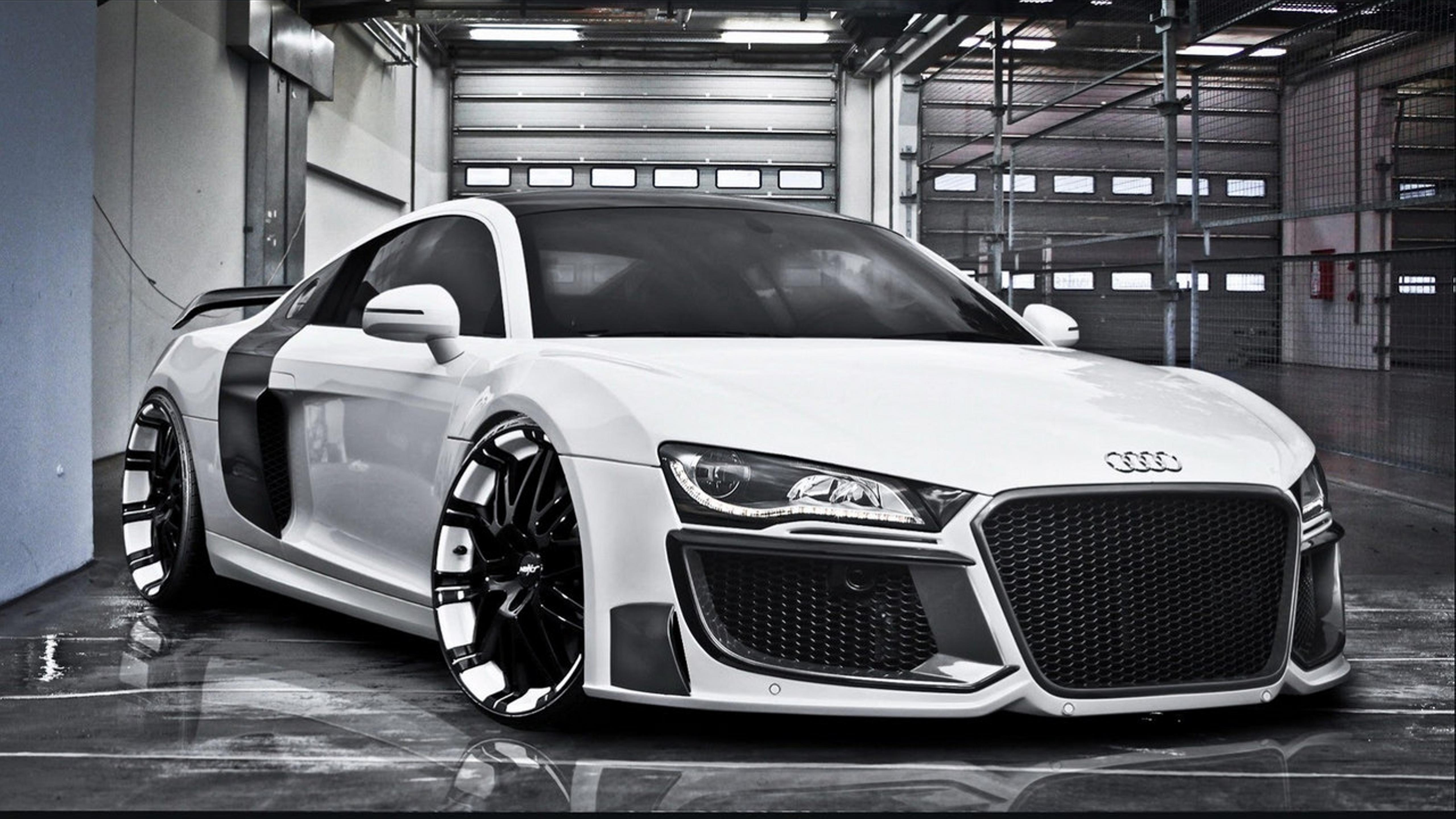 white audi r8 altered tuning in the garage wallpaper download 5120x2880. Black Bedroom Furniture Sets. Home Design Ideas