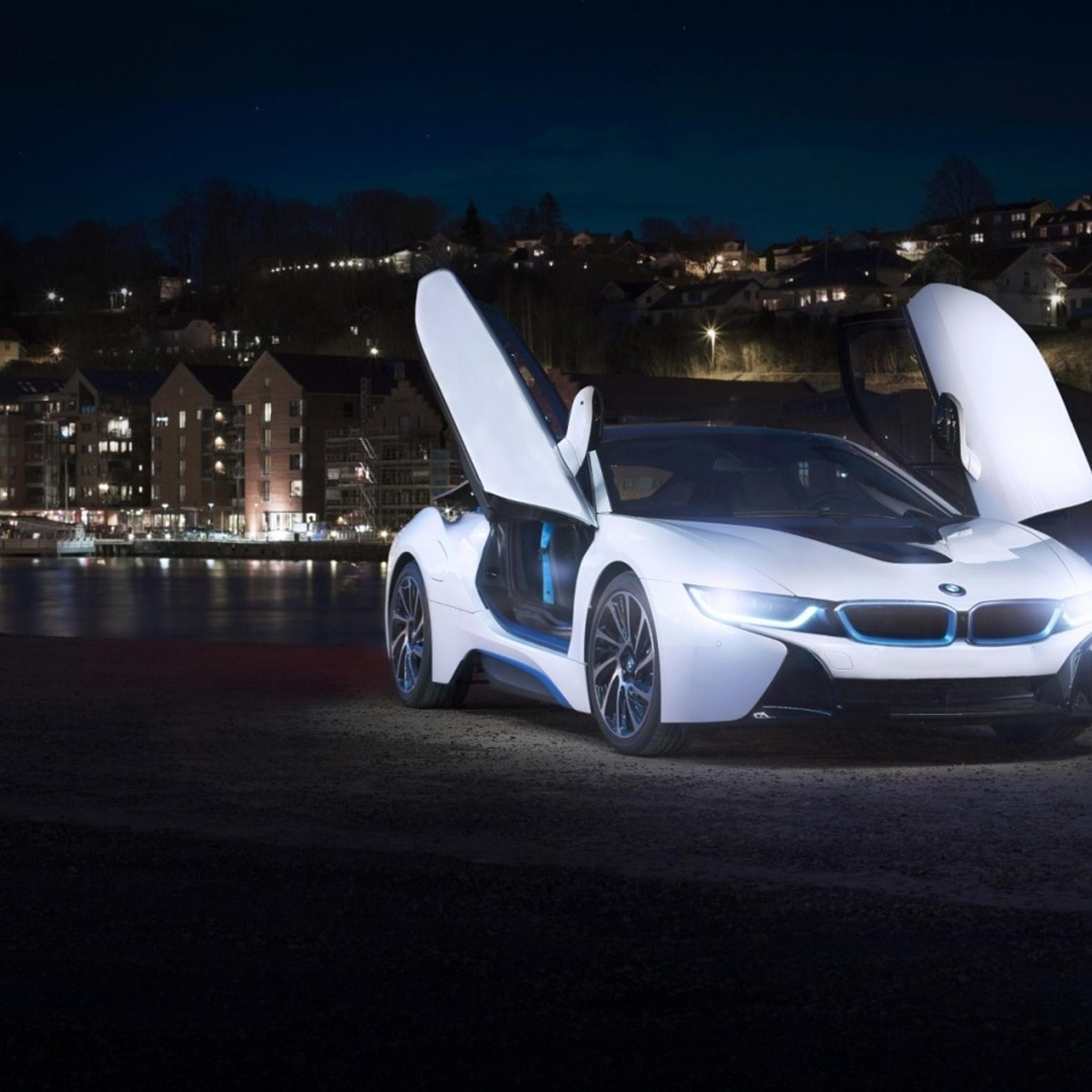 White BMW I8 Concept with opened doors in the city ...