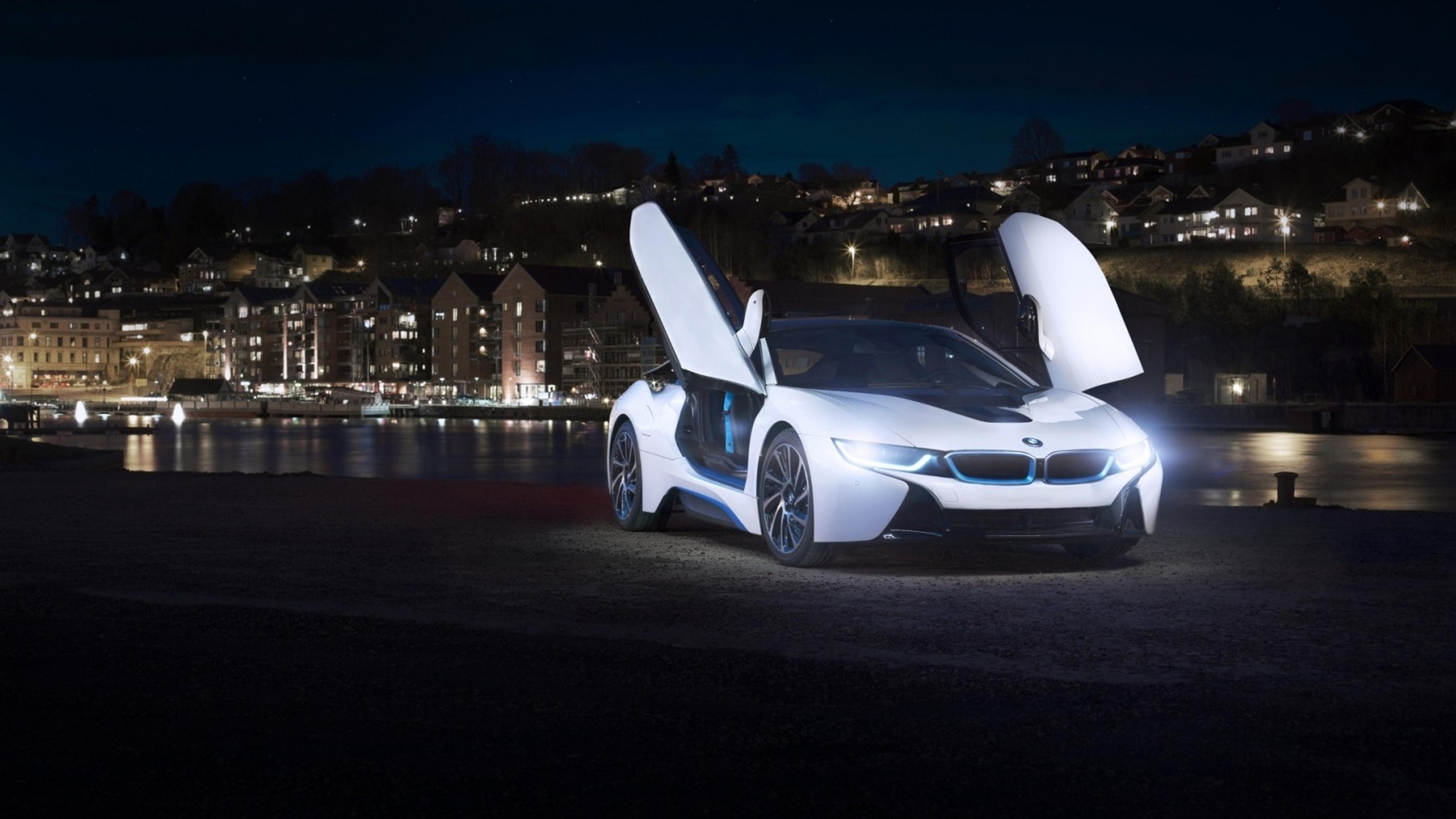 white bmw i8 concept with opened doors in the city wallpaper download 5120x2880
