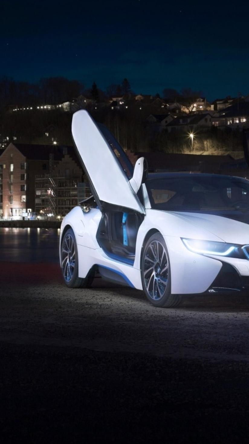 White Bmw I8 Concept With Opened Doors In The City Wallpaper