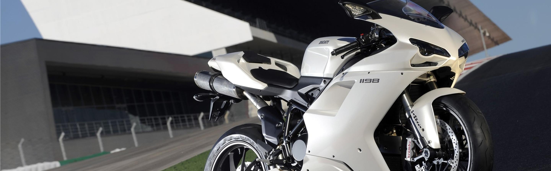 White Ducati Sport Bike Hd Wallpaper Wallpaper Download 2880x900