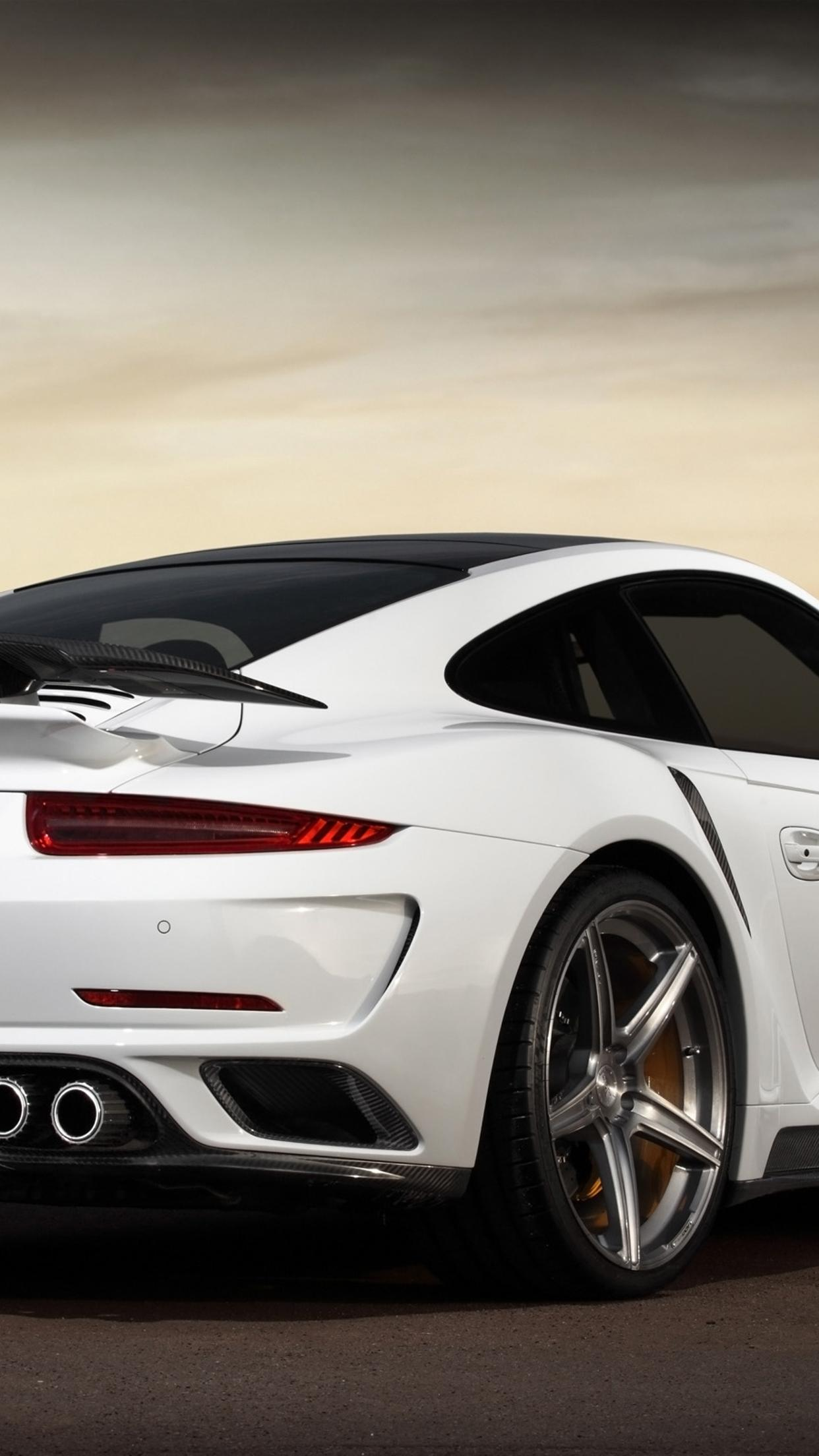 white porsche 911 turbo s stinger wallpaper download 1242x2208