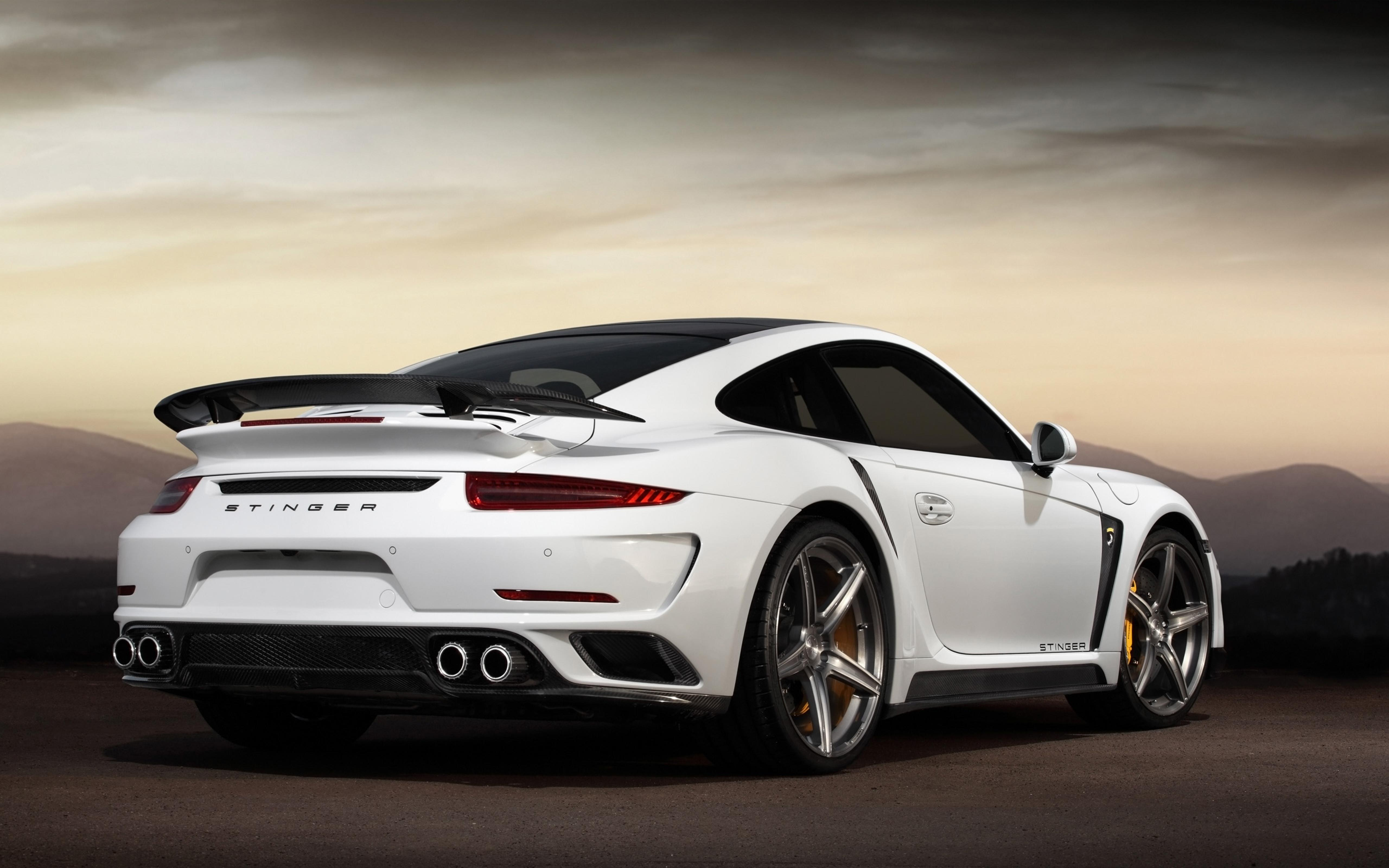 White Porsche 911 Turbo S Stinger Wallpaper Download 5120x3200