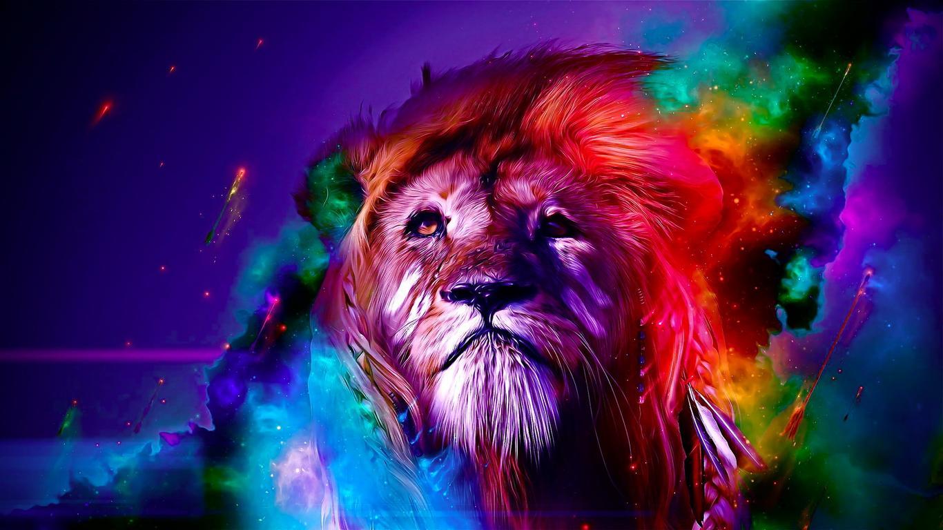 wild animal - colourful leon wallpaper download 1366x768