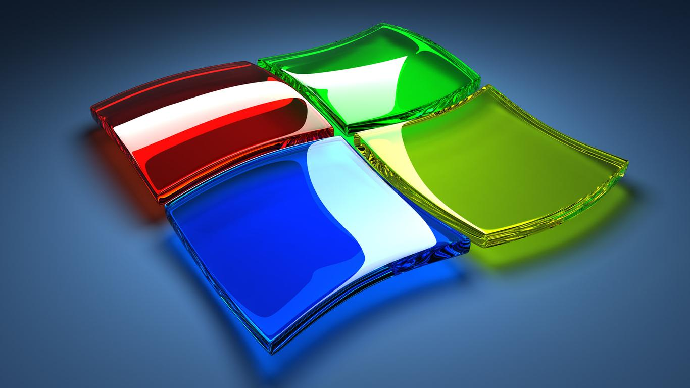 windows 7 logo - 3d wallpaper wallpaper download 1366x768