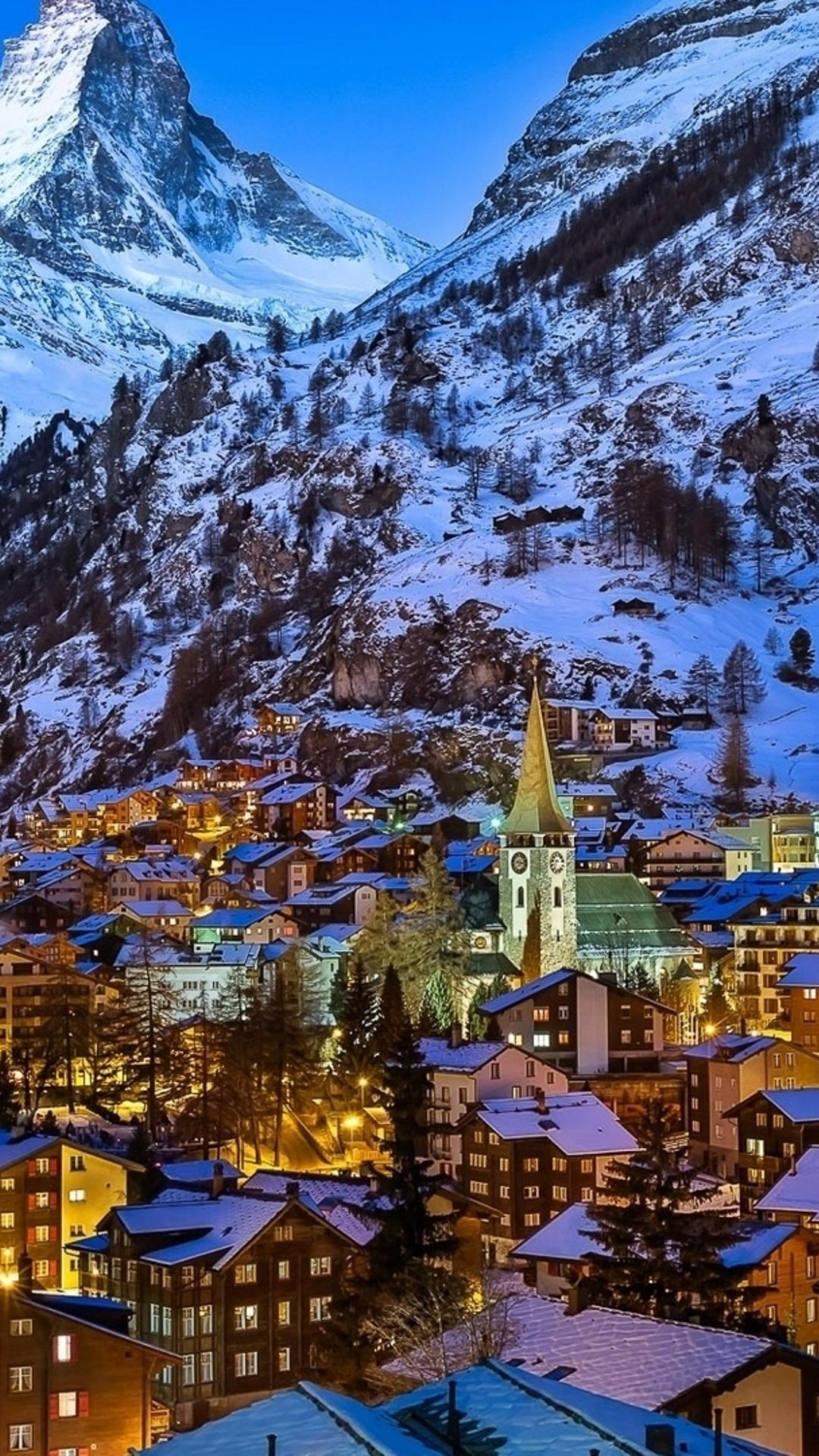winter at zermatt valley switzerland wallpaper download 1080x1920