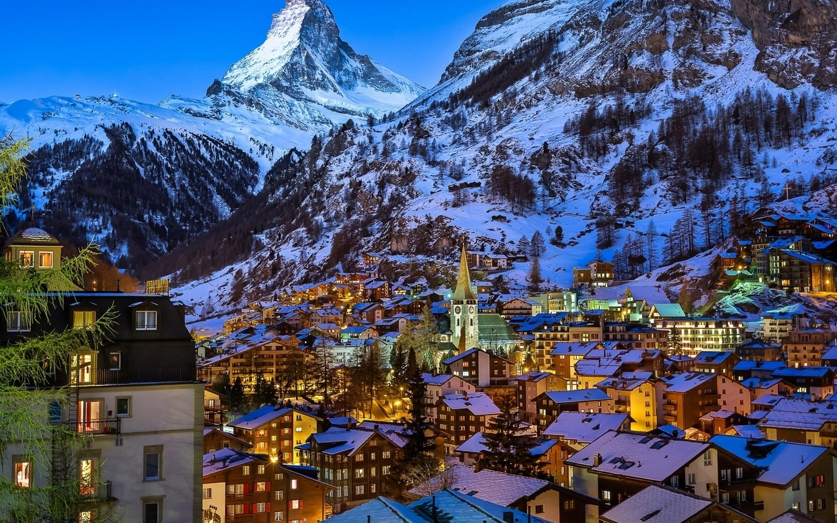 winter at zermatt valley switzerland wallpaper download 2880x1800