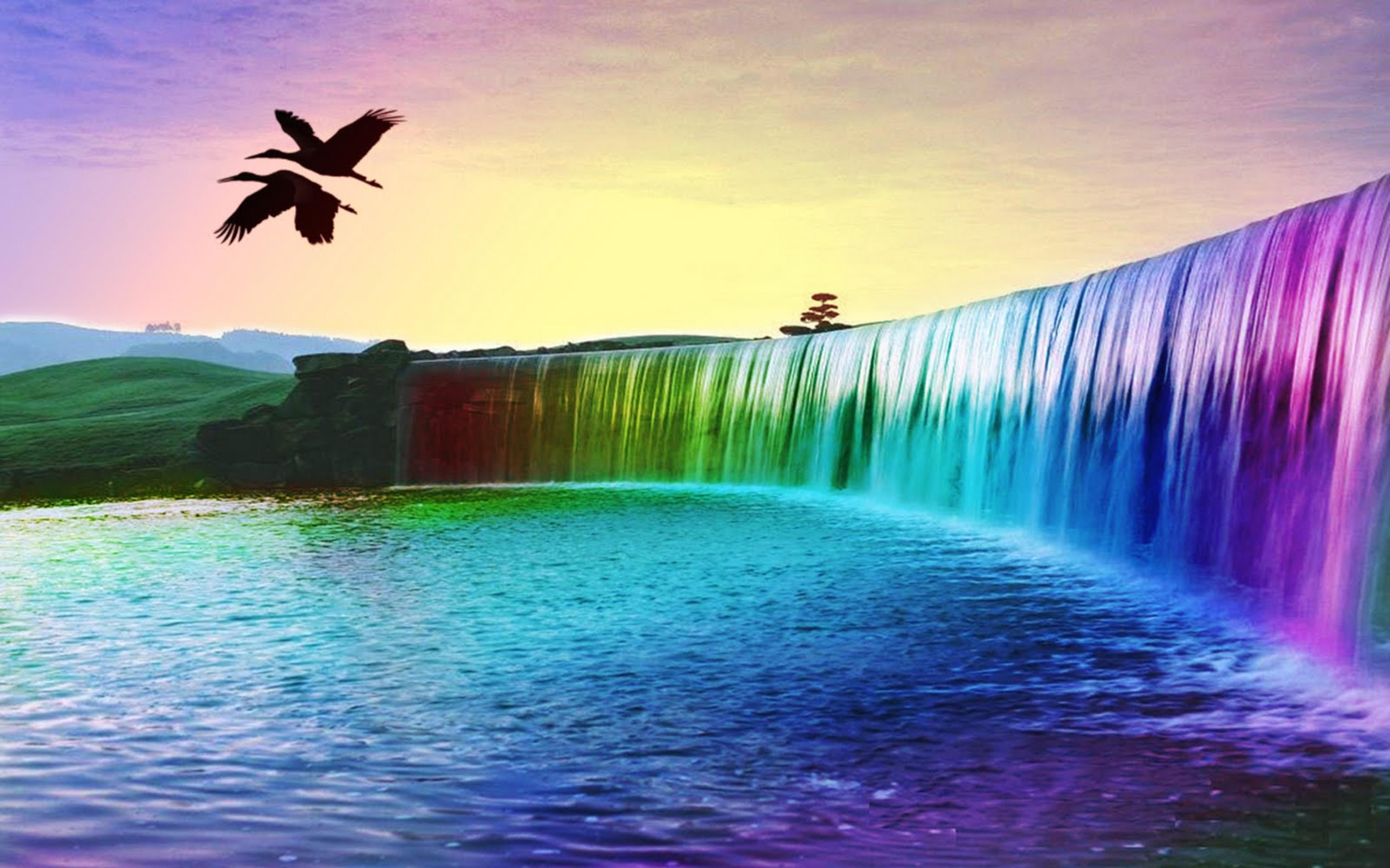 Wonderful 3d Colourful Waterfall Hd Wallpaper Wallpaper