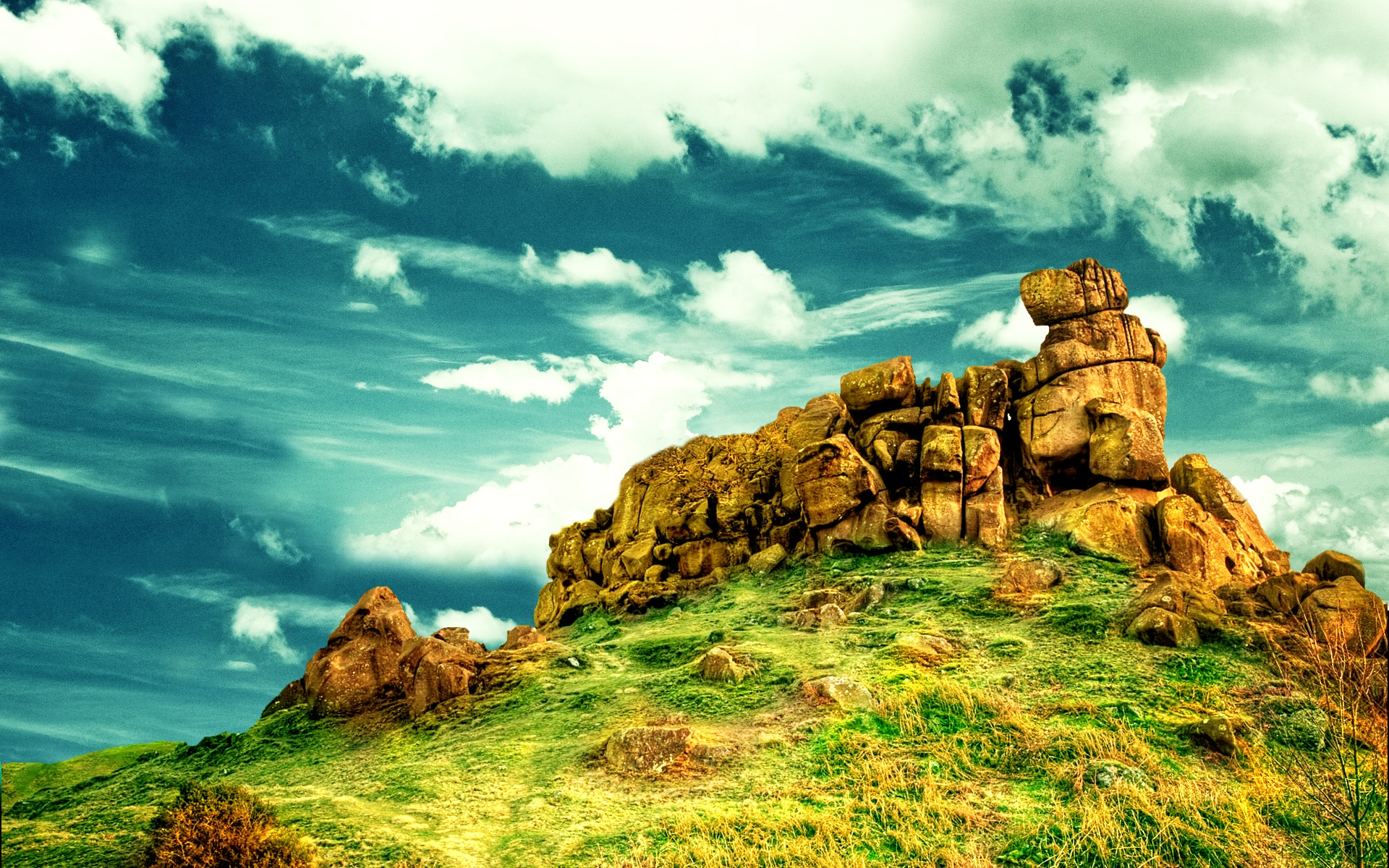 wonderful rocks on the top of the mountain - summer time wallpaper