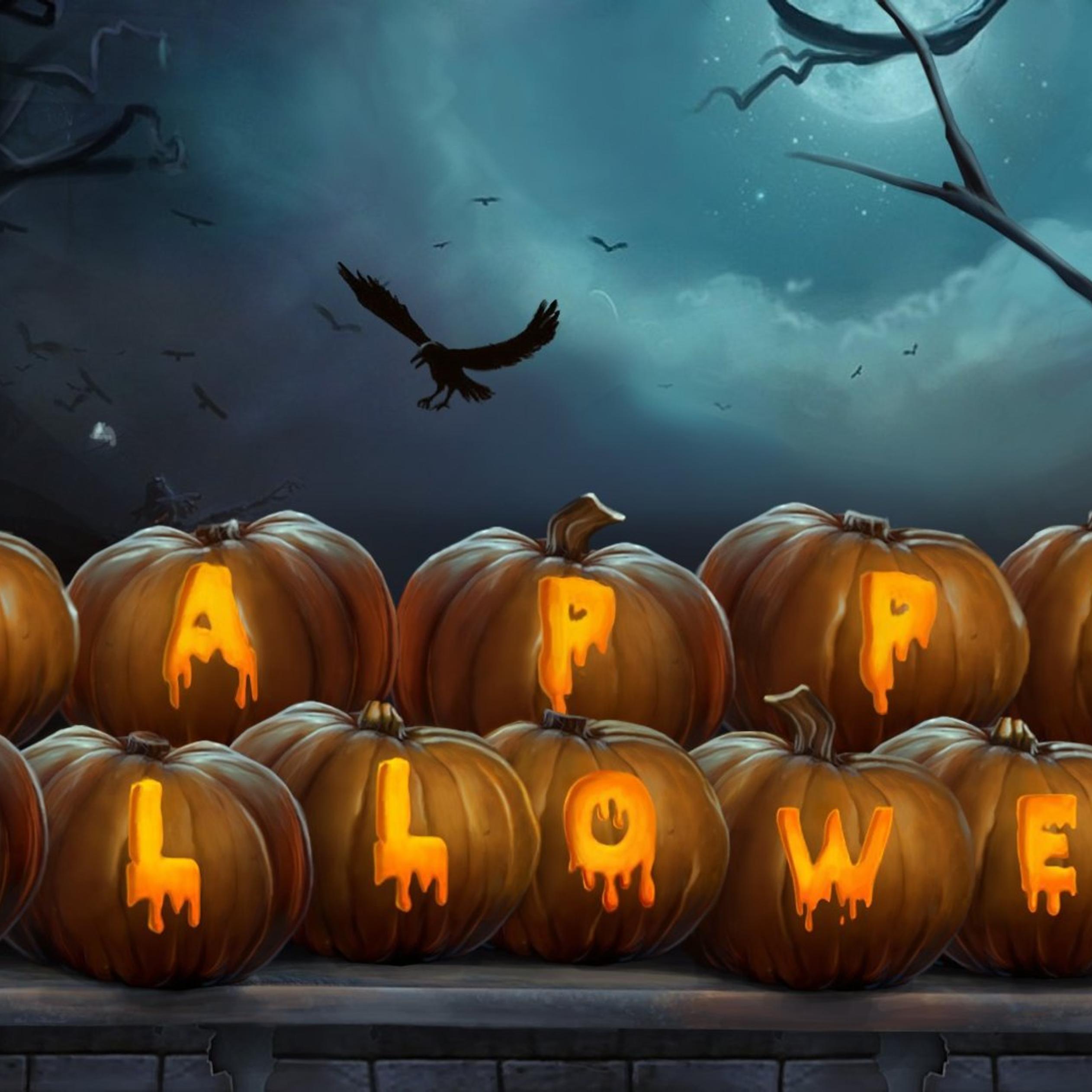 happy halloween write on pumpkins hd