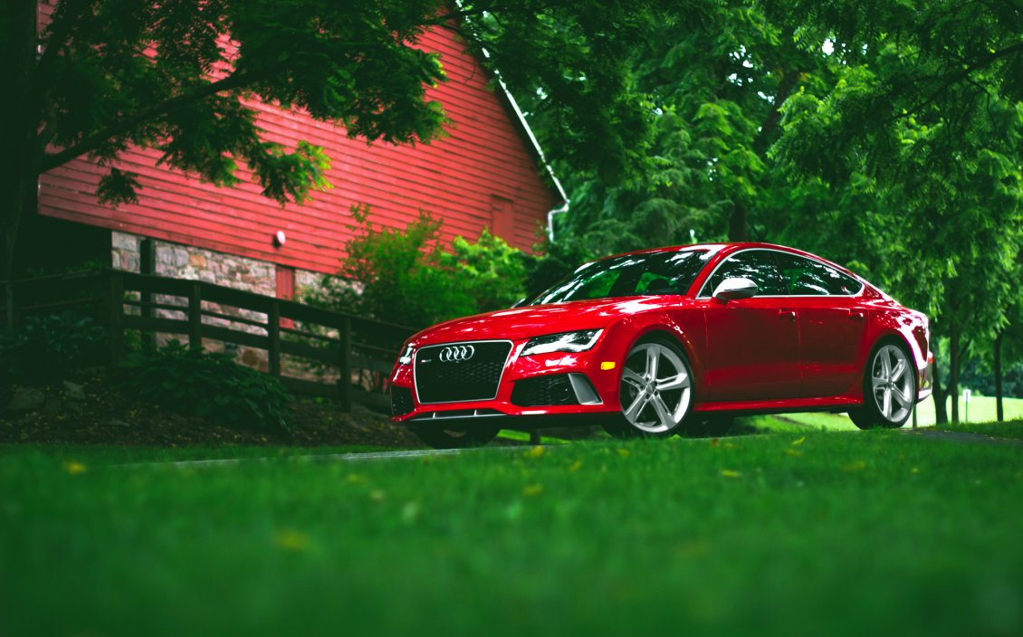 Download Wallpaper Audi rs7 red HD
